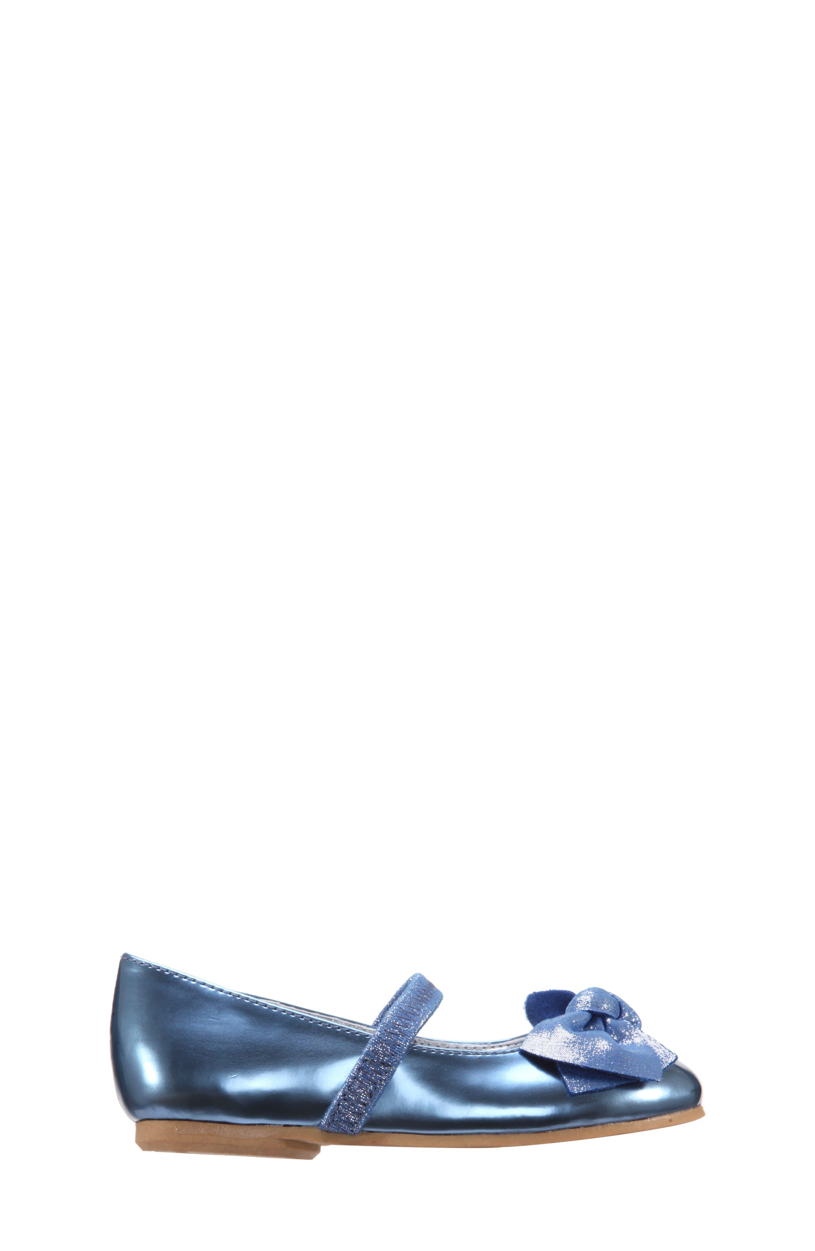 Kaytelyn-T Glitter Bow Ballet Flat,                             Alternate thumbnail 3, color,                             Blue Mirror Metallic