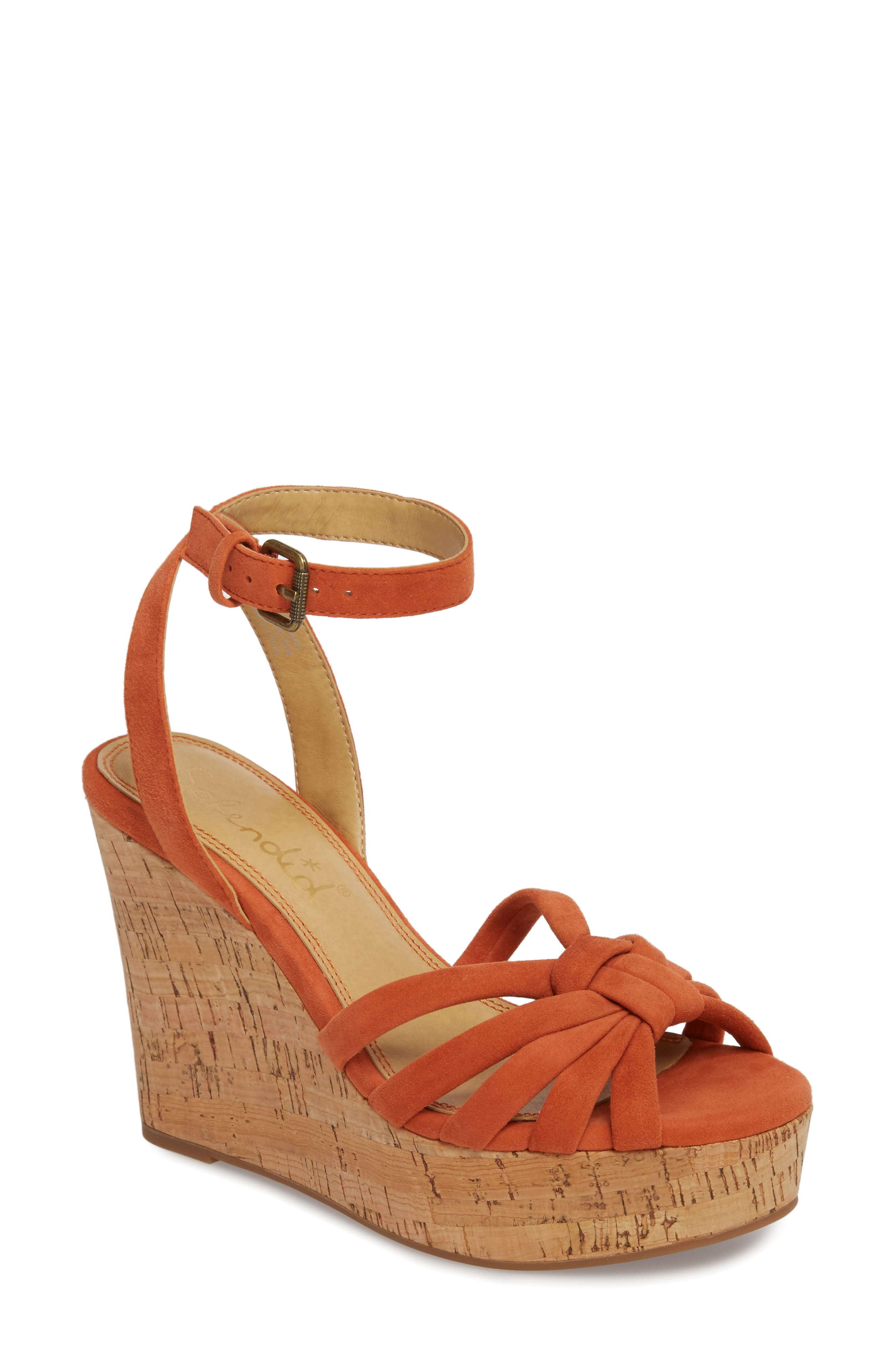 Fallon Wedge Sandal,                         Main,                         color, Coral Suede