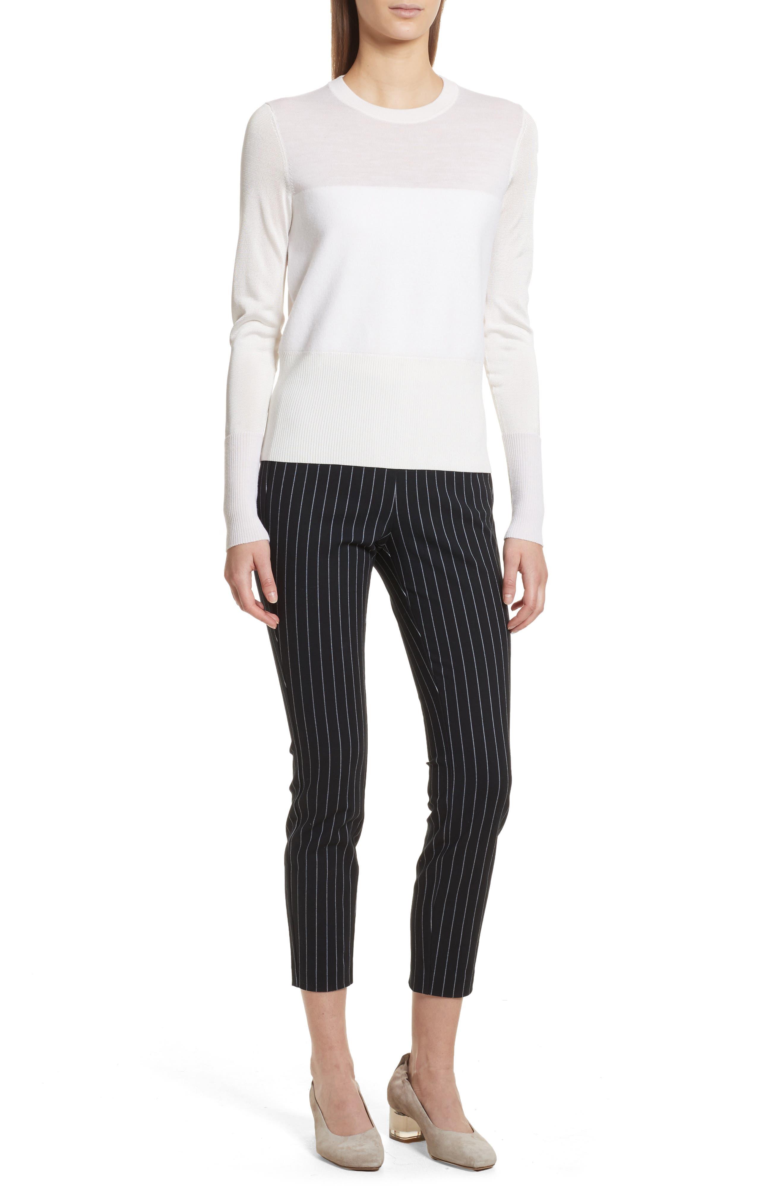 Simone Pinstripe Pants,                             Alternate thumbnail 6, color,                             Black/ White