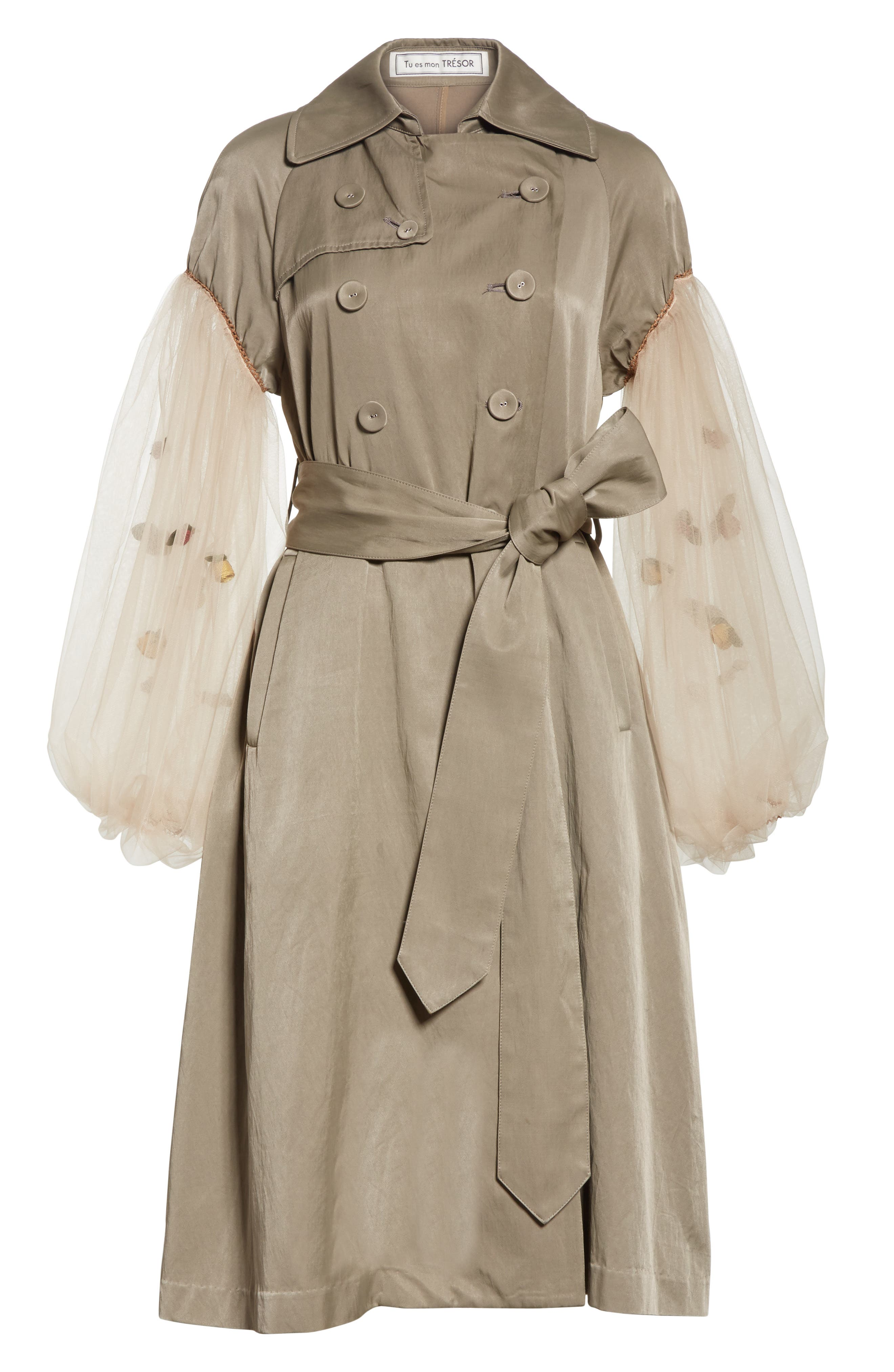 Rose Embroidered Tulle Sleeve Trench Coat,                             Alternate thumbnail 6, color,                             Beige