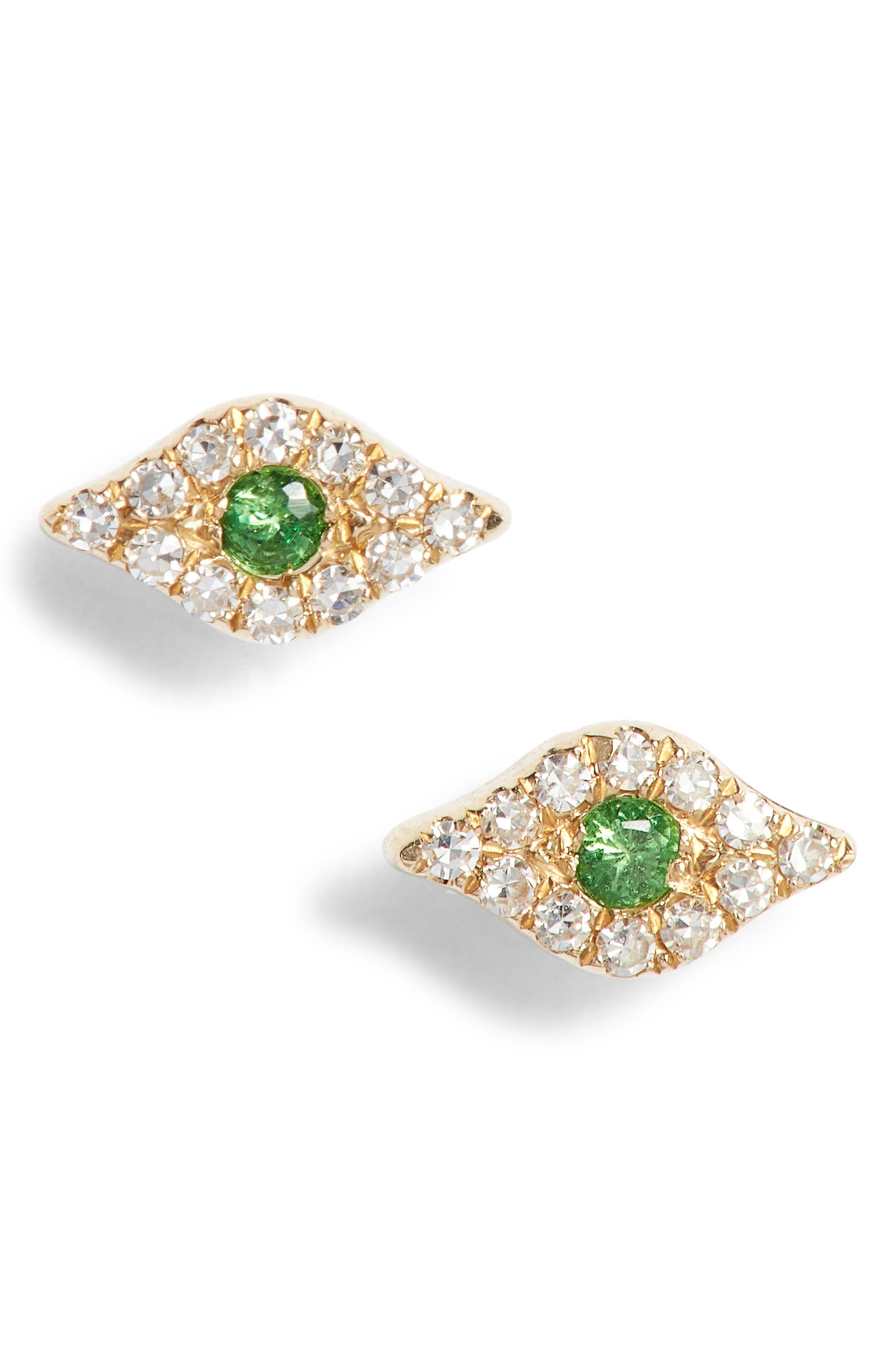 Evil Eye Diamond & Sapphire Stud Earrings,                             Main thumbnail 1, color,                             Yellow Gold/ Tsavorite
