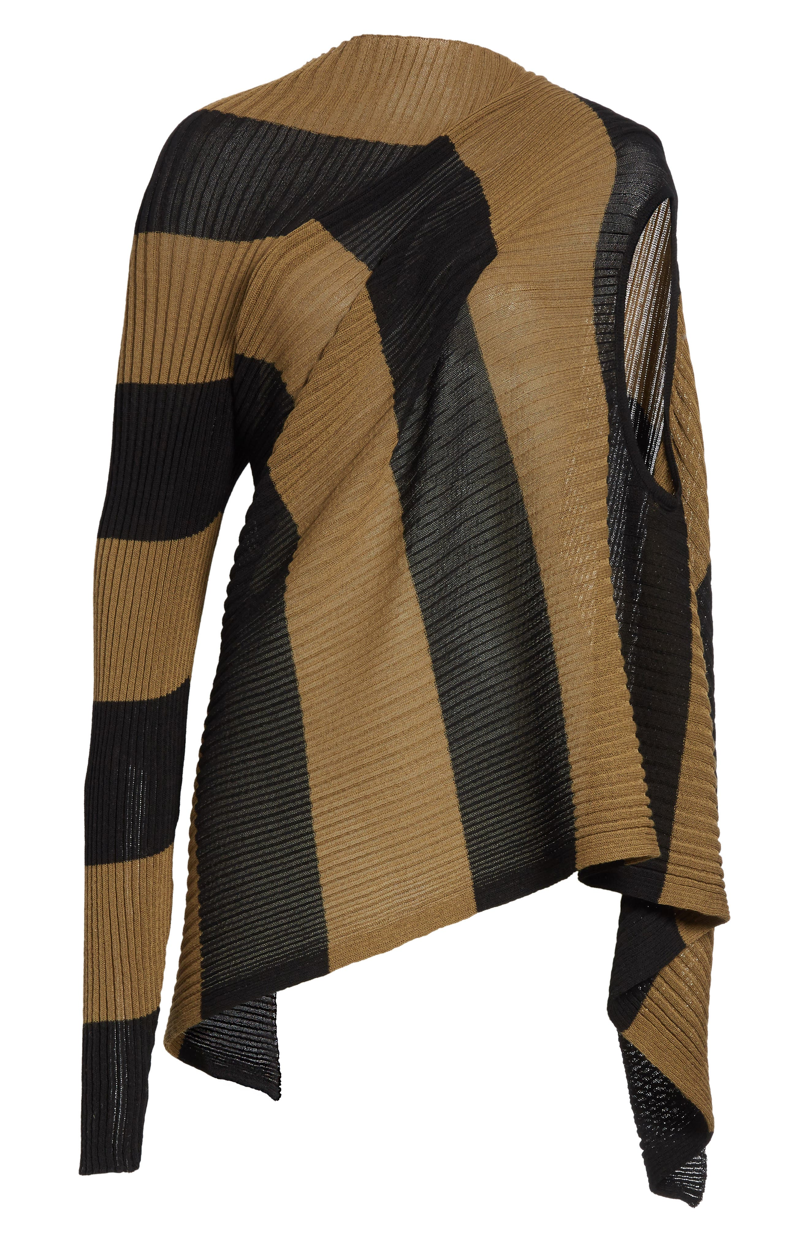 Marques'Almeida Draped One Sleeve Sweater,                             Alternate thumbnail 7, color,                             Khaki/ Black