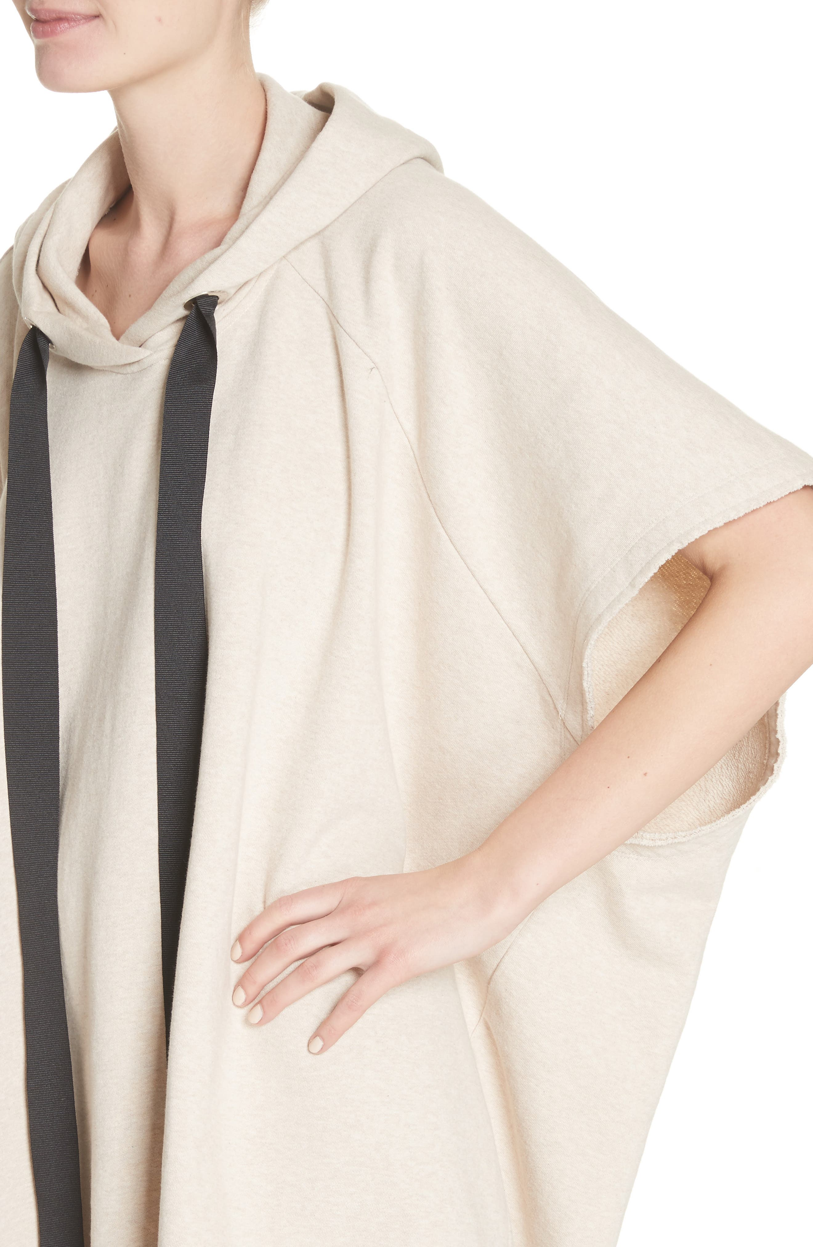 Marques'Almeida Asymmetrical Cap Sleeve Hoodie,                             Alternate thumbnail 4, color,                             Beige Melange