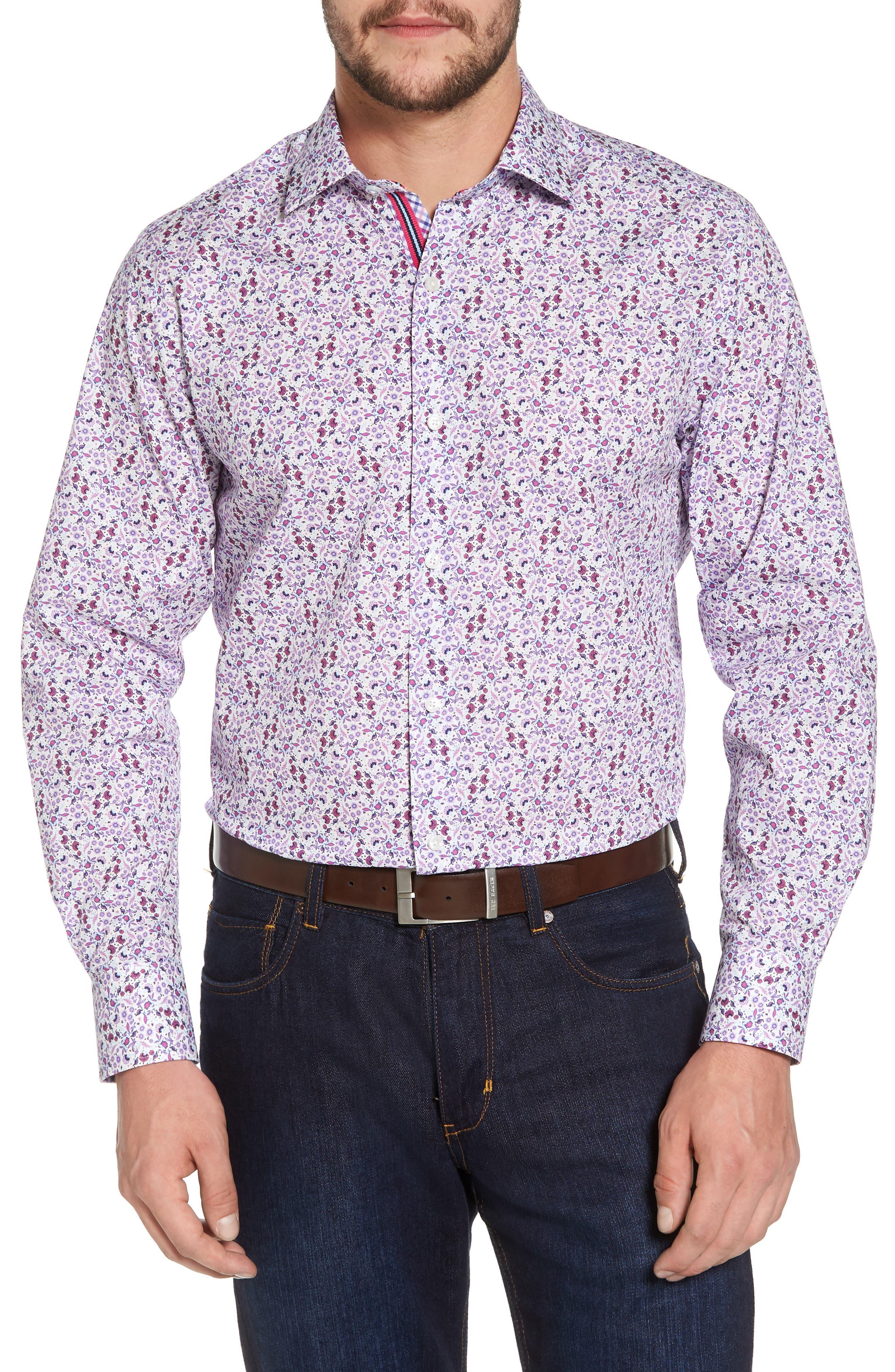 Kaj Regular Fit Floral Print Sport Shirt,                         Main,                         color, Fuchsia