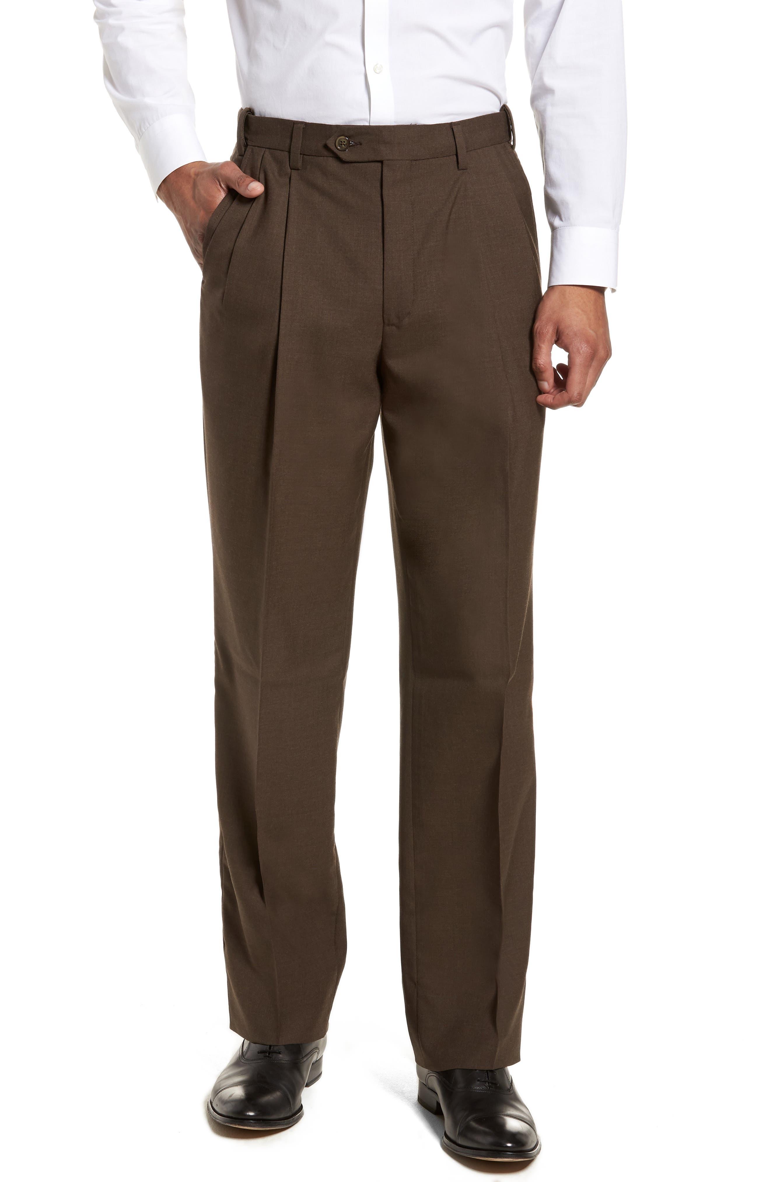 Self Sizer Waist Pleated Wool Gabardine Trousers,                         Main,                         color, Brown