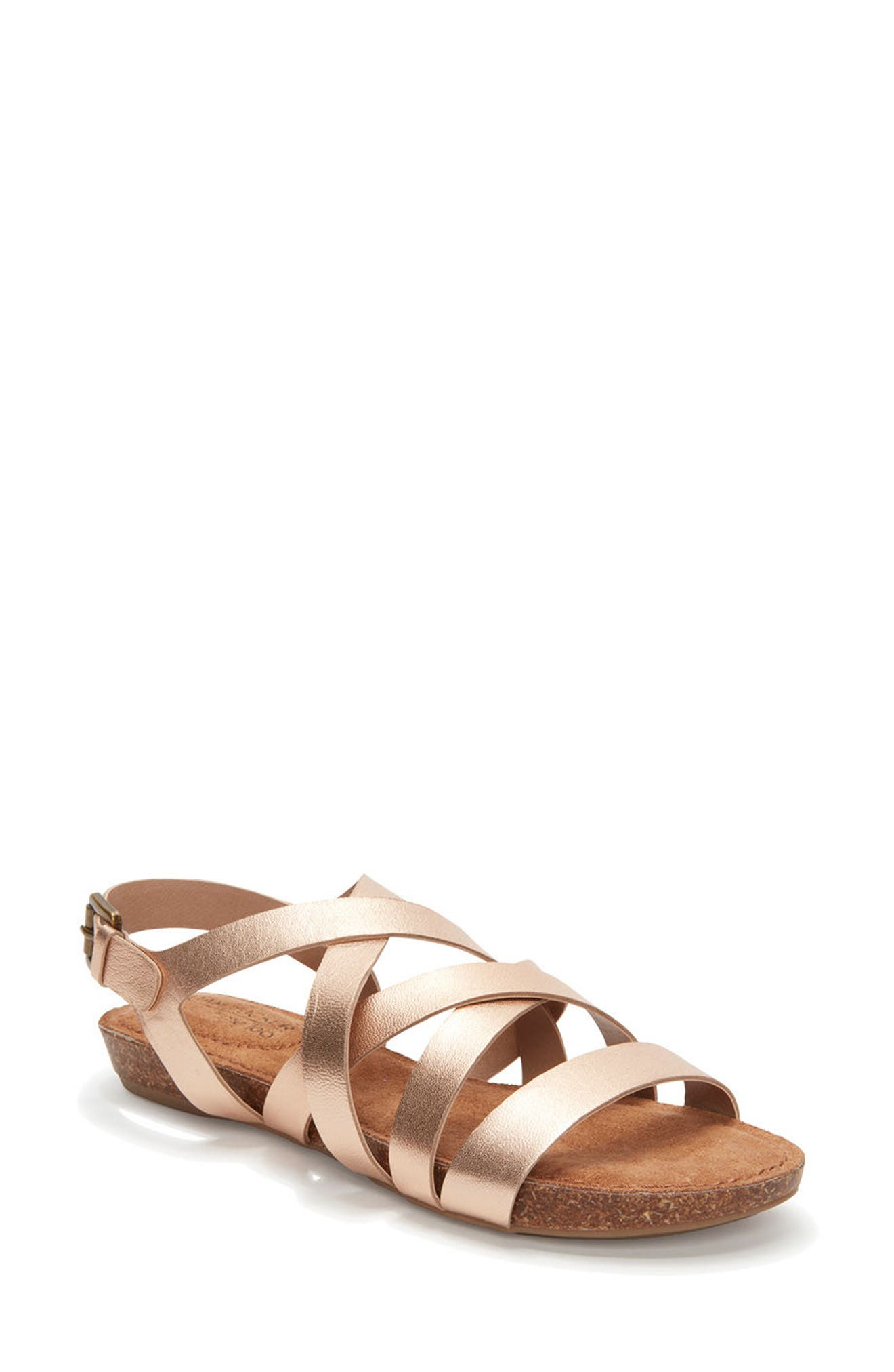 Adam Tucker Nickie Sandal,                             Main thumbnail 1, color,                             Champagne Leather