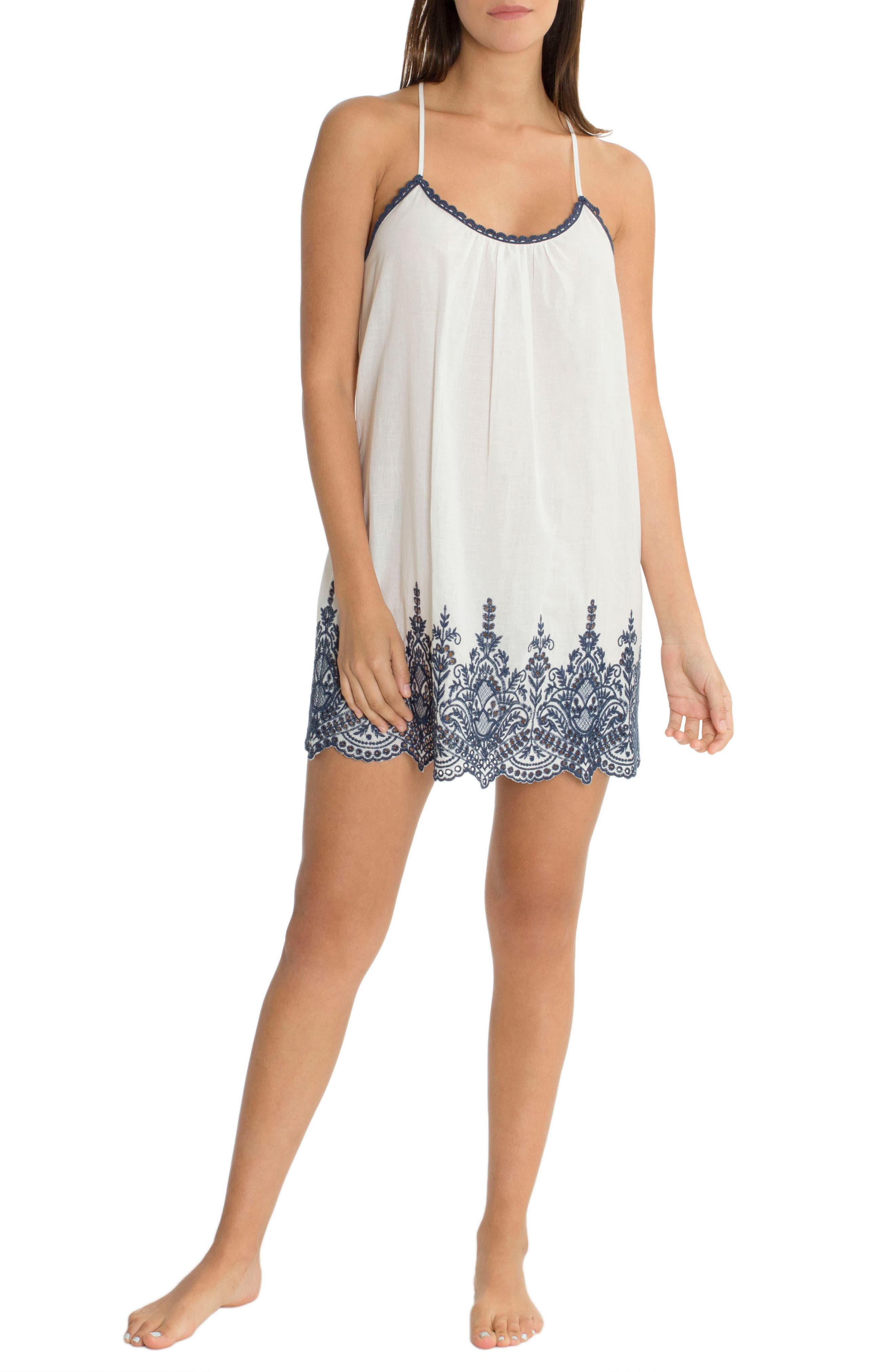 Embroidered Chemise,                             Alternate thumbnail 4, color,                             Ivory/ Navy