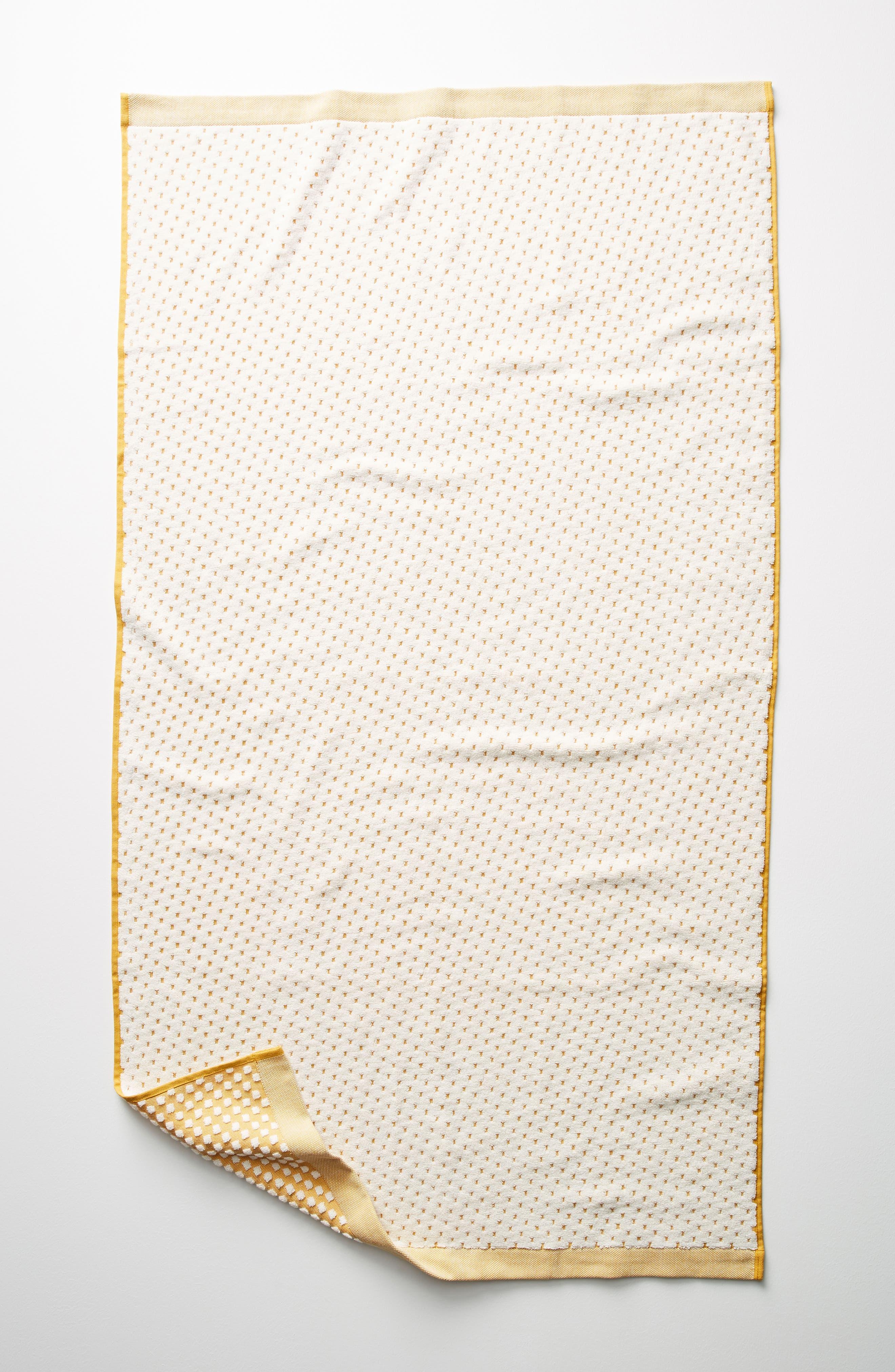 Dot Jacquard Bath Towel,                         Main,                         color, Ochre