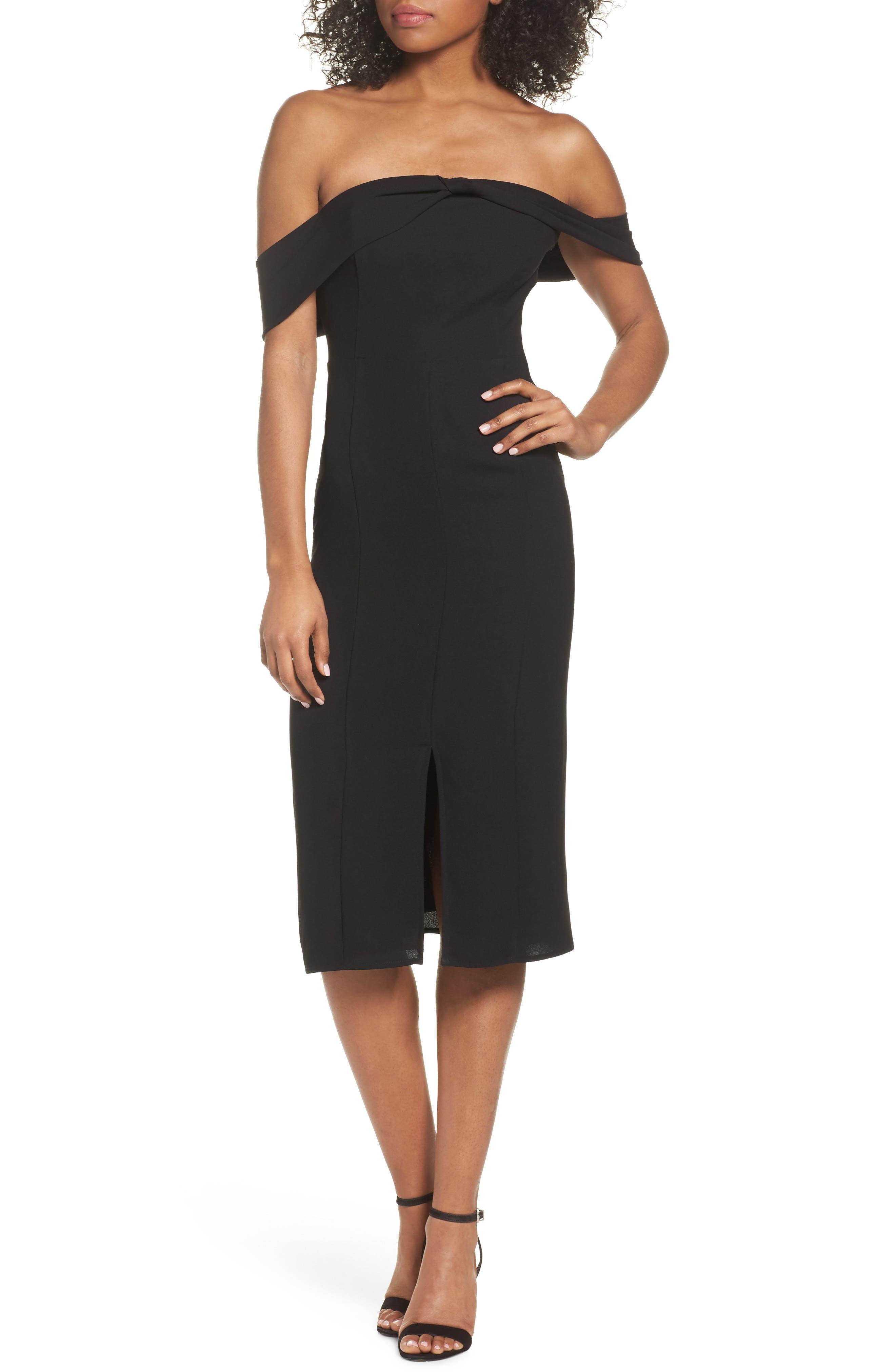 Off the Shoulder Sheath Dress,                         Main,                         color, Black