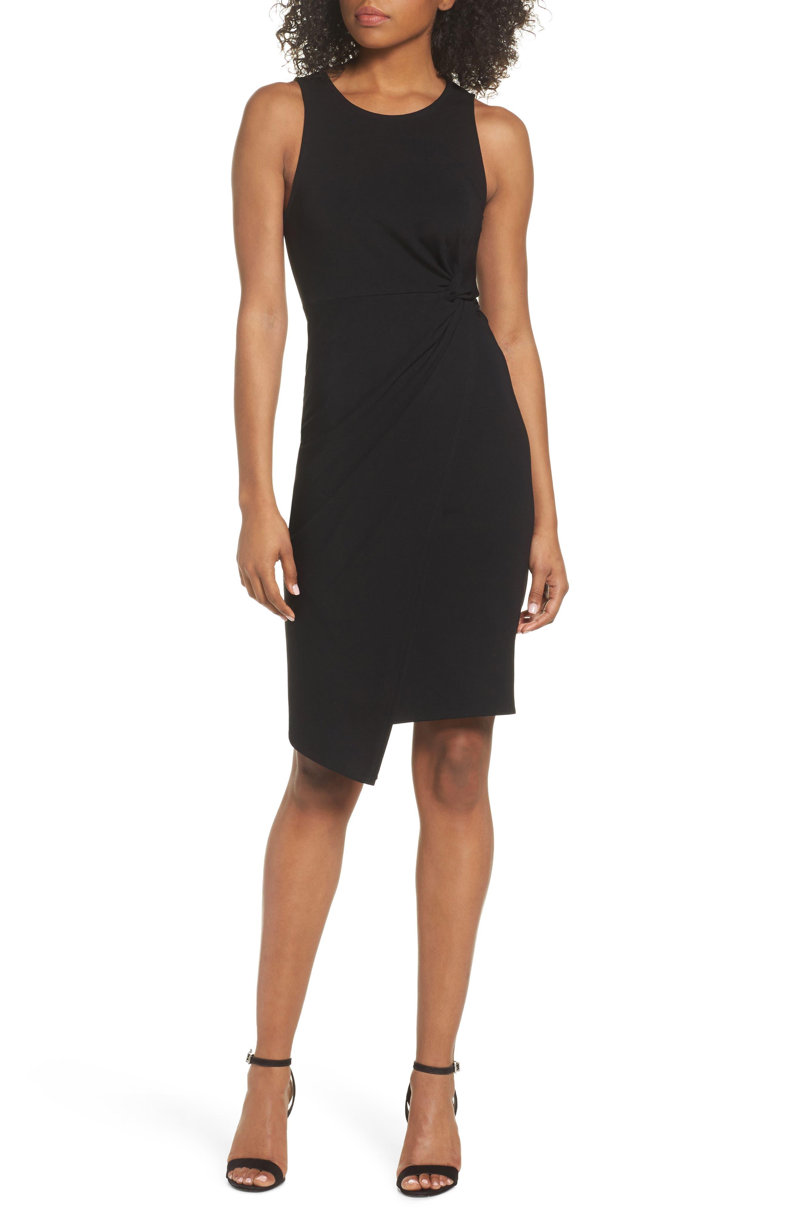 Asymmetric Hem Sheath Dress,                             Main thumbnail 1, color,                             Black