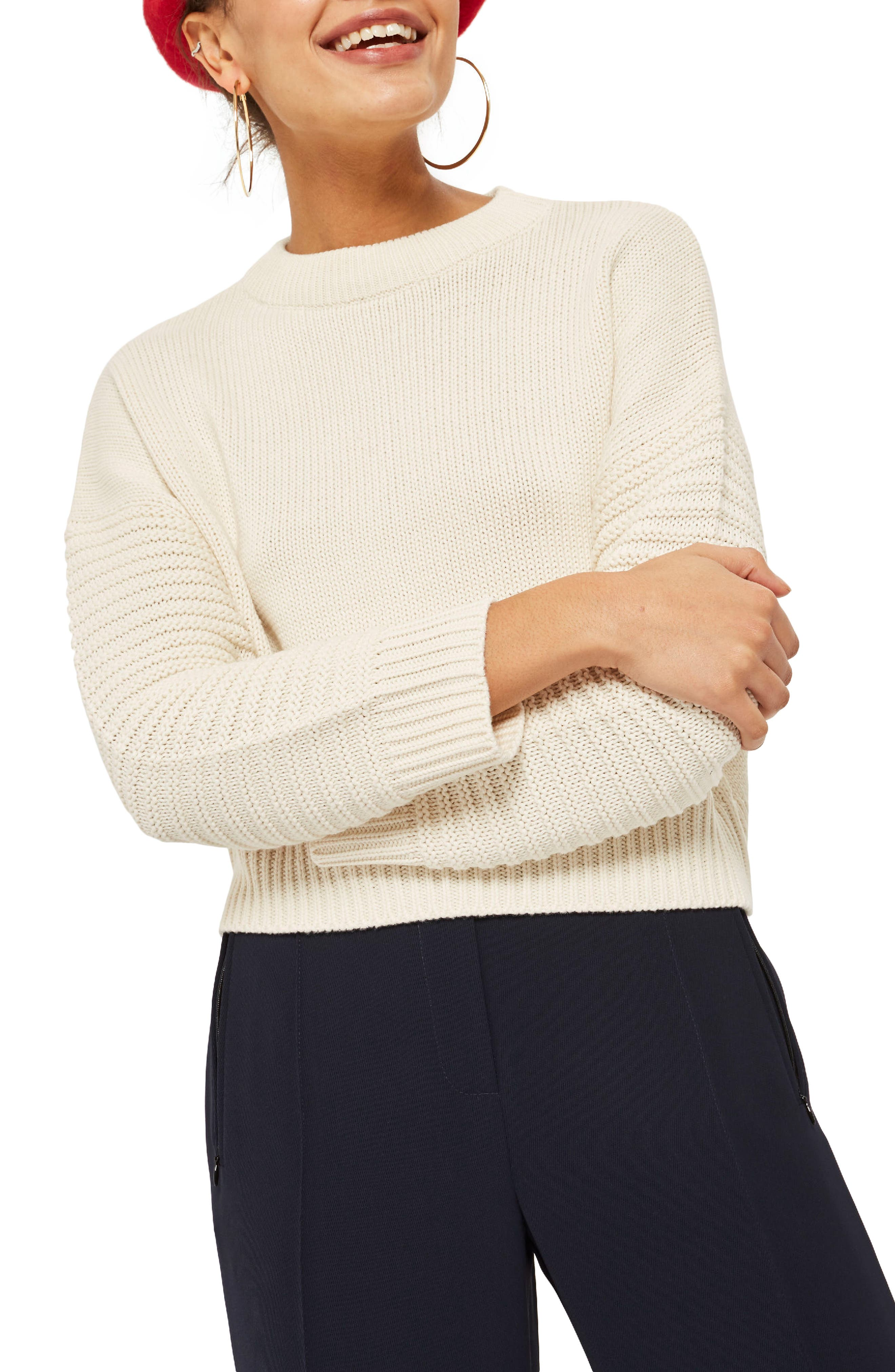 Topshop Stitch Sleeve Sweater