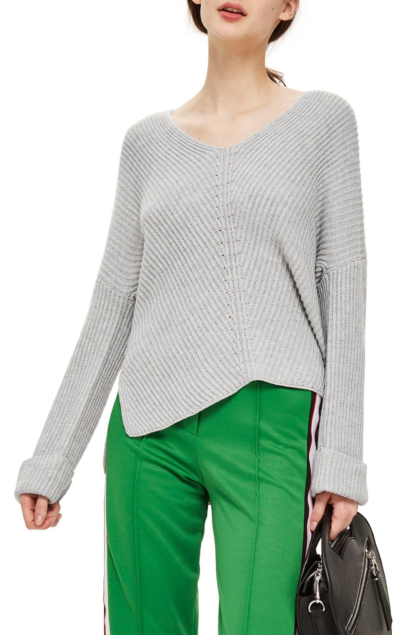 Topshop Ribbed Cashmere Blend Sweater