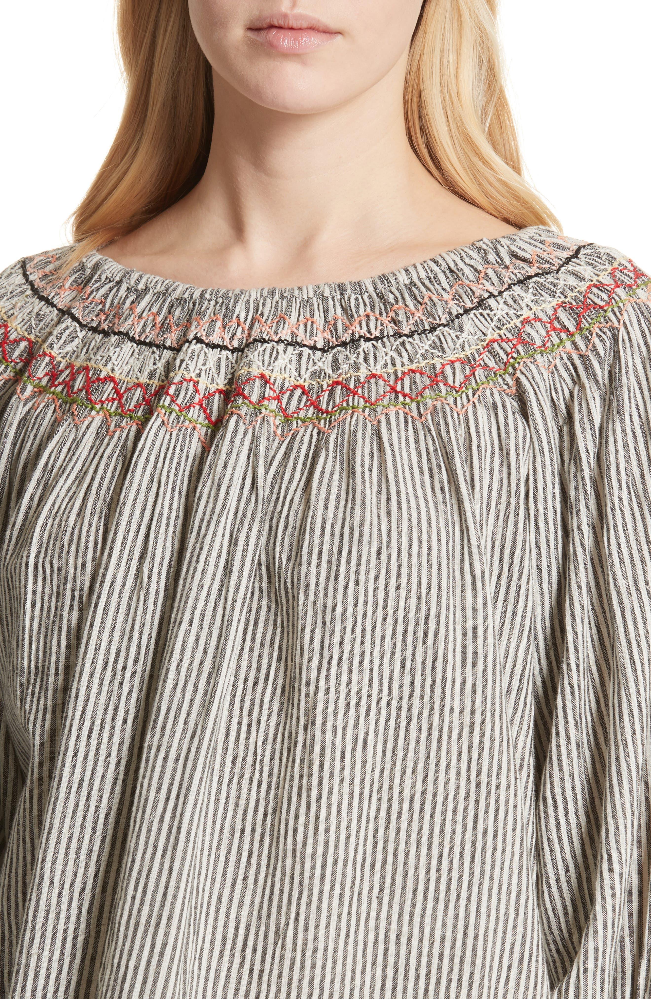 The Vista Cotton & Linen Top,                             Alternate thumbnail 4, color,                             Rail Stripe