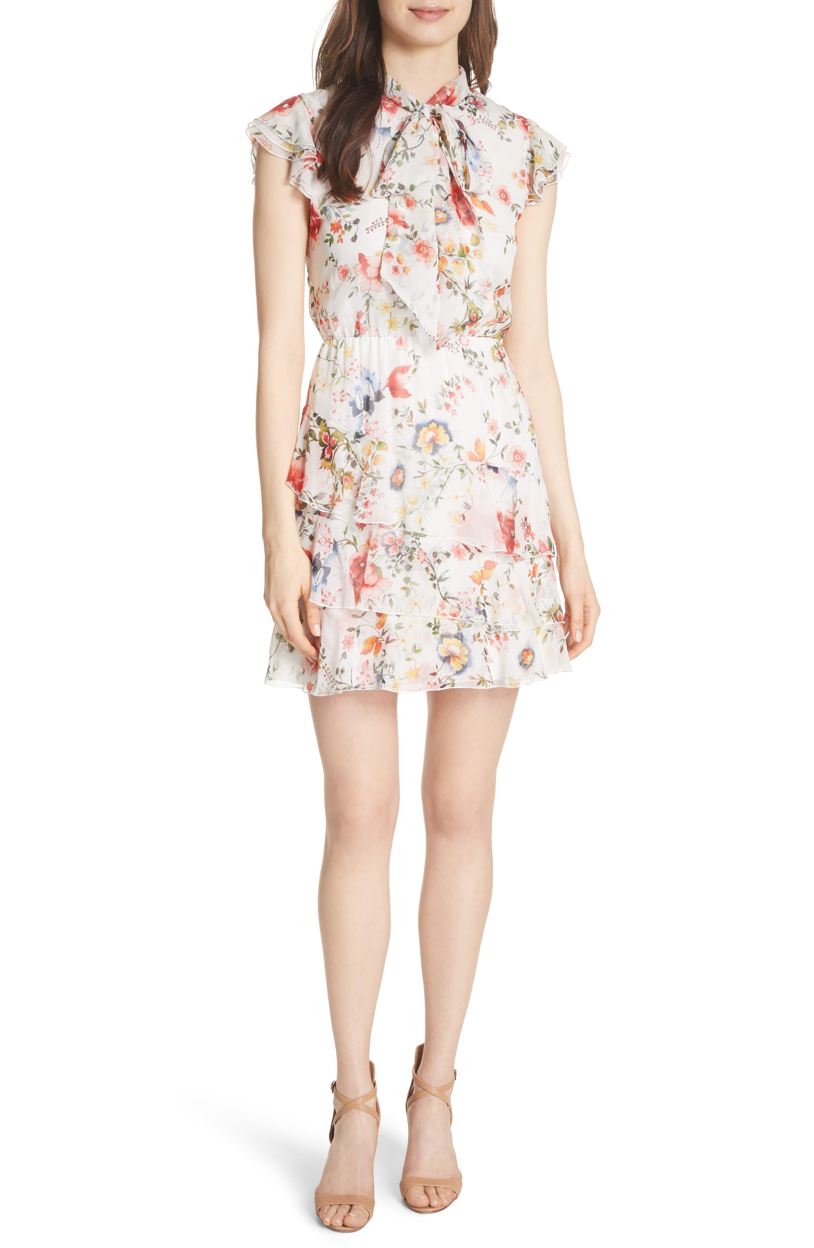 Lessie Ruffled Floral Silk Dress,                             Main thumbnail 1, color,                             Floral Soiree-Soft White