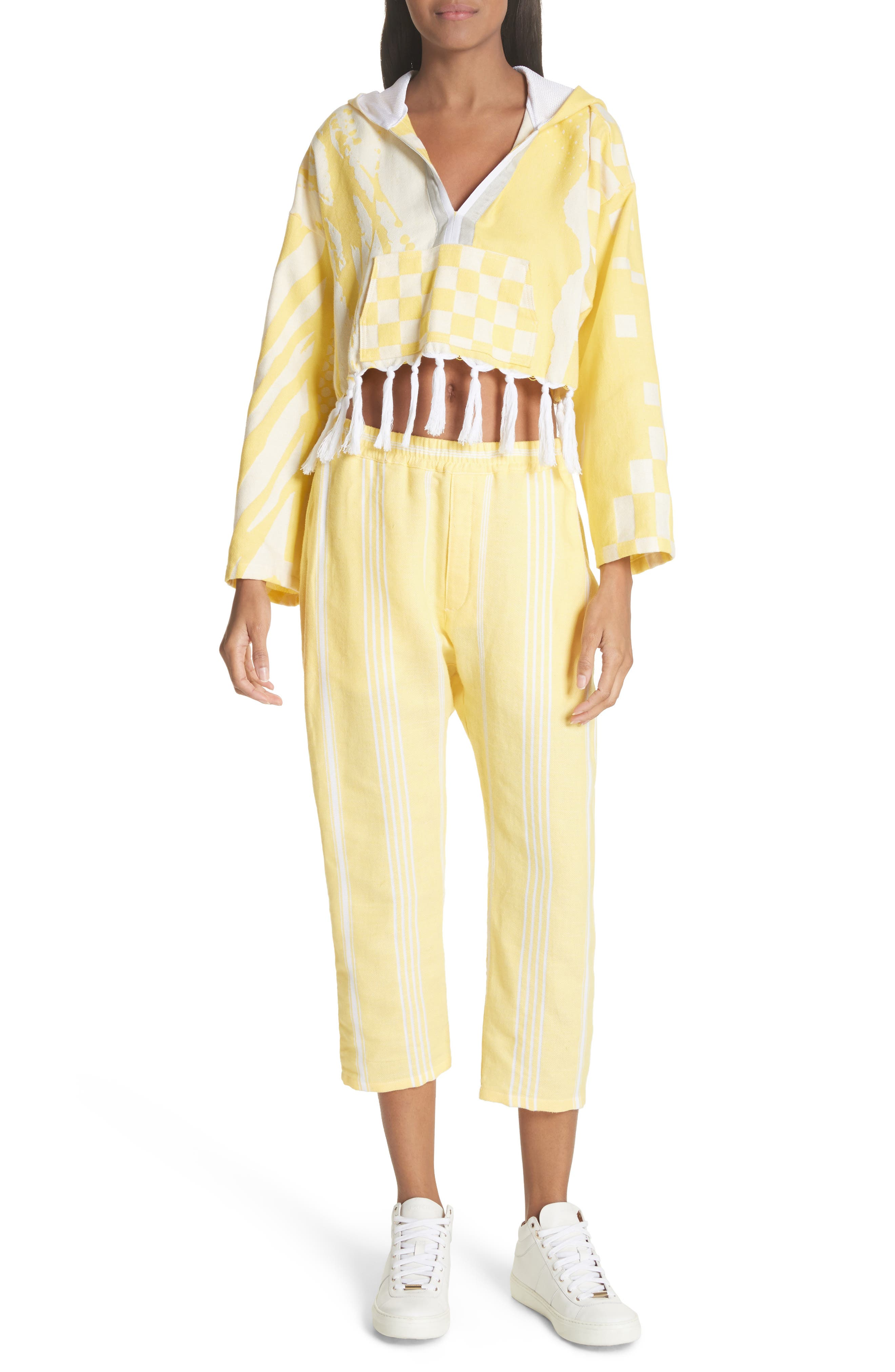 Stripe Cotton Beach Pants,                             Alternate thumbnail 7, color,                             Yellow