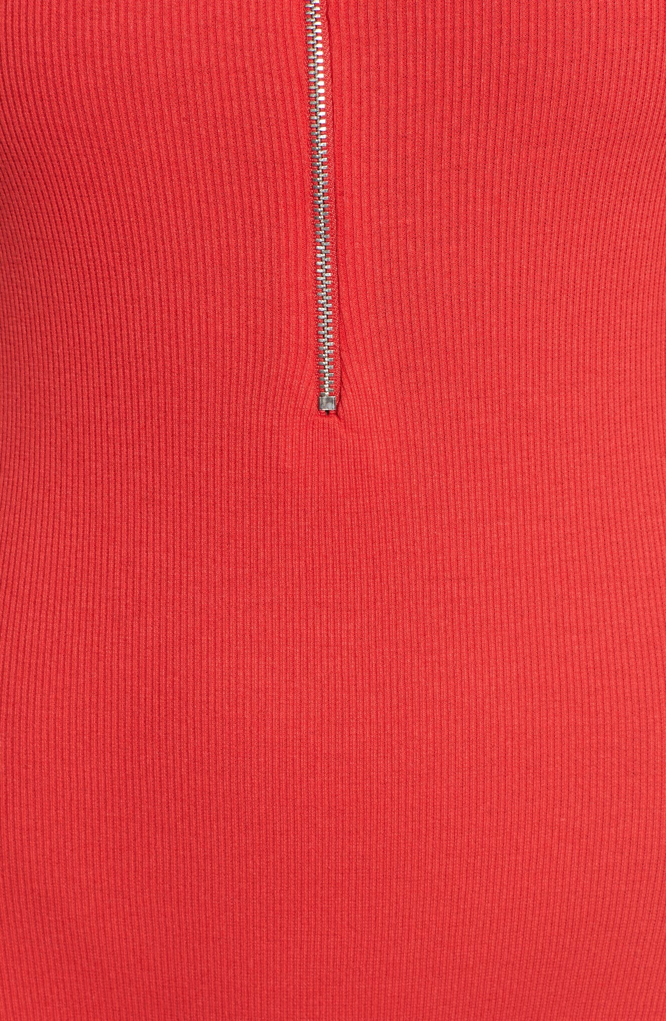 Ring Pull Zip Bodysuit,                             Alternate thumbnail 5, color,                             Red