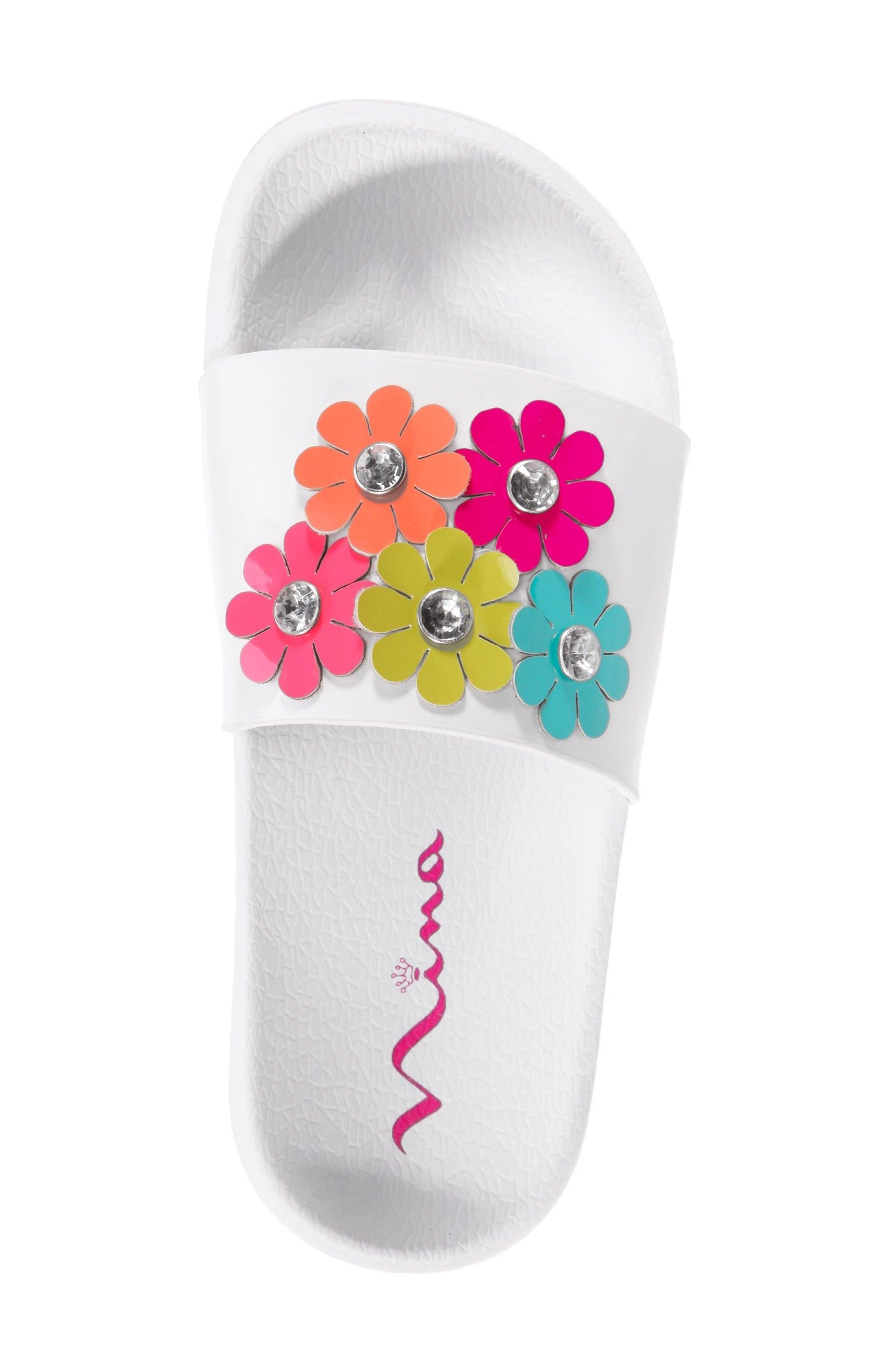 Flowermaid Embellished Slide Sandal,                             Alternate thumbnail 5, color,                             White Smooth