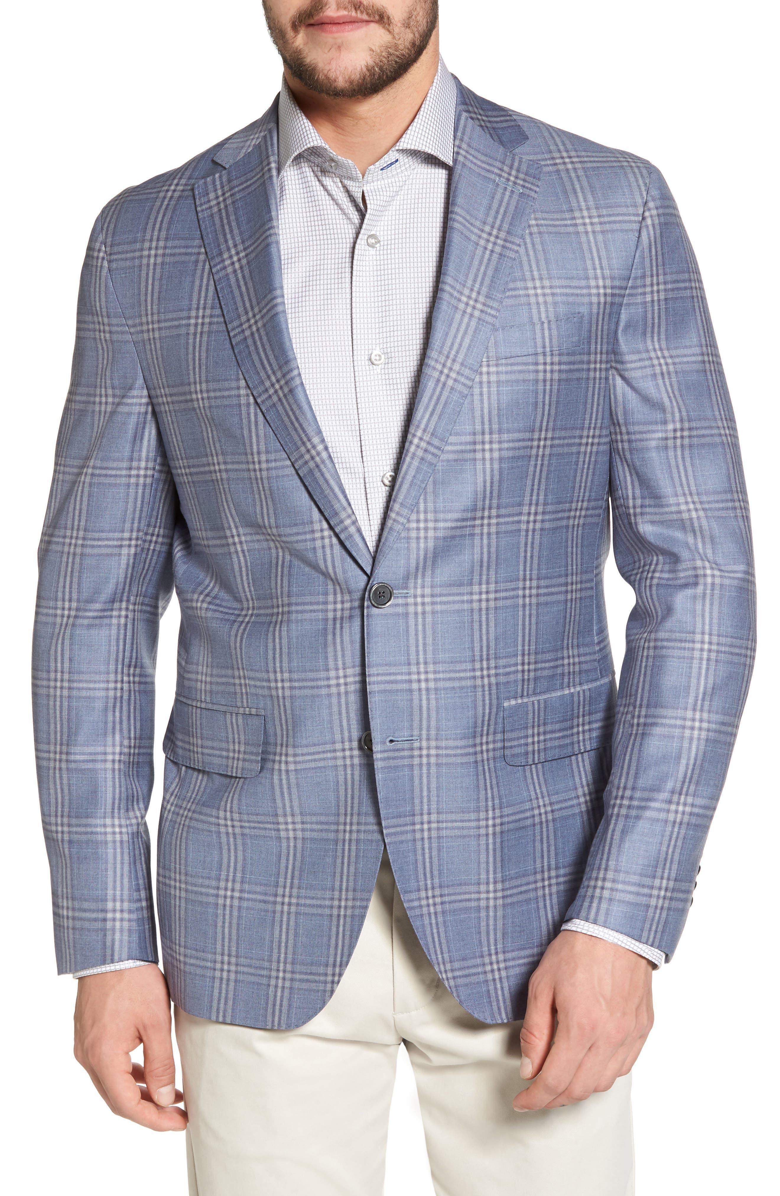 Arnold Classic Fit Plaid Wool Sport Coat,                         Main,                         color, Blue