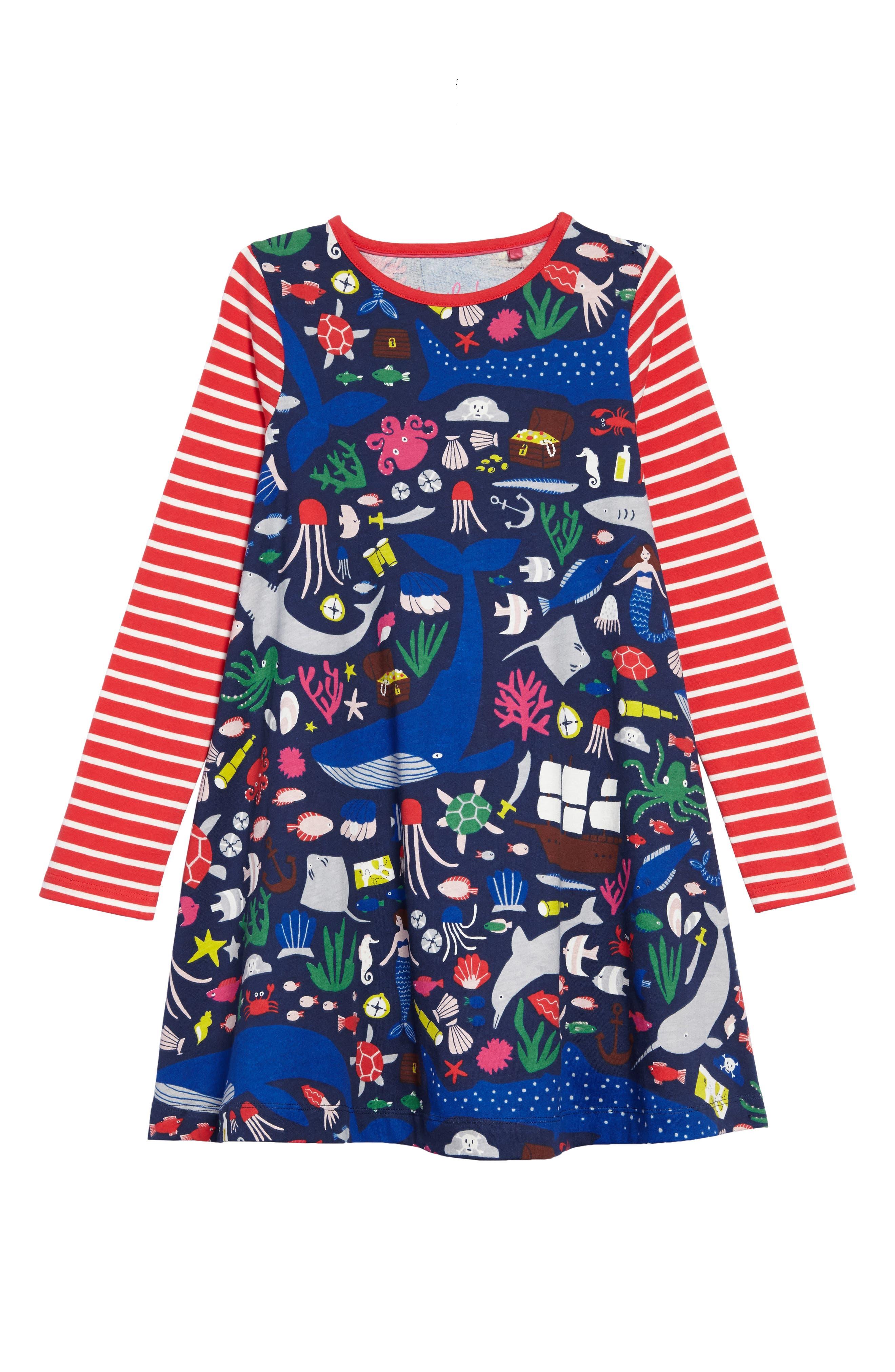 Jersey Swing Dress,                             Main thumbnail 1, color,                             Multi Treasure Tale