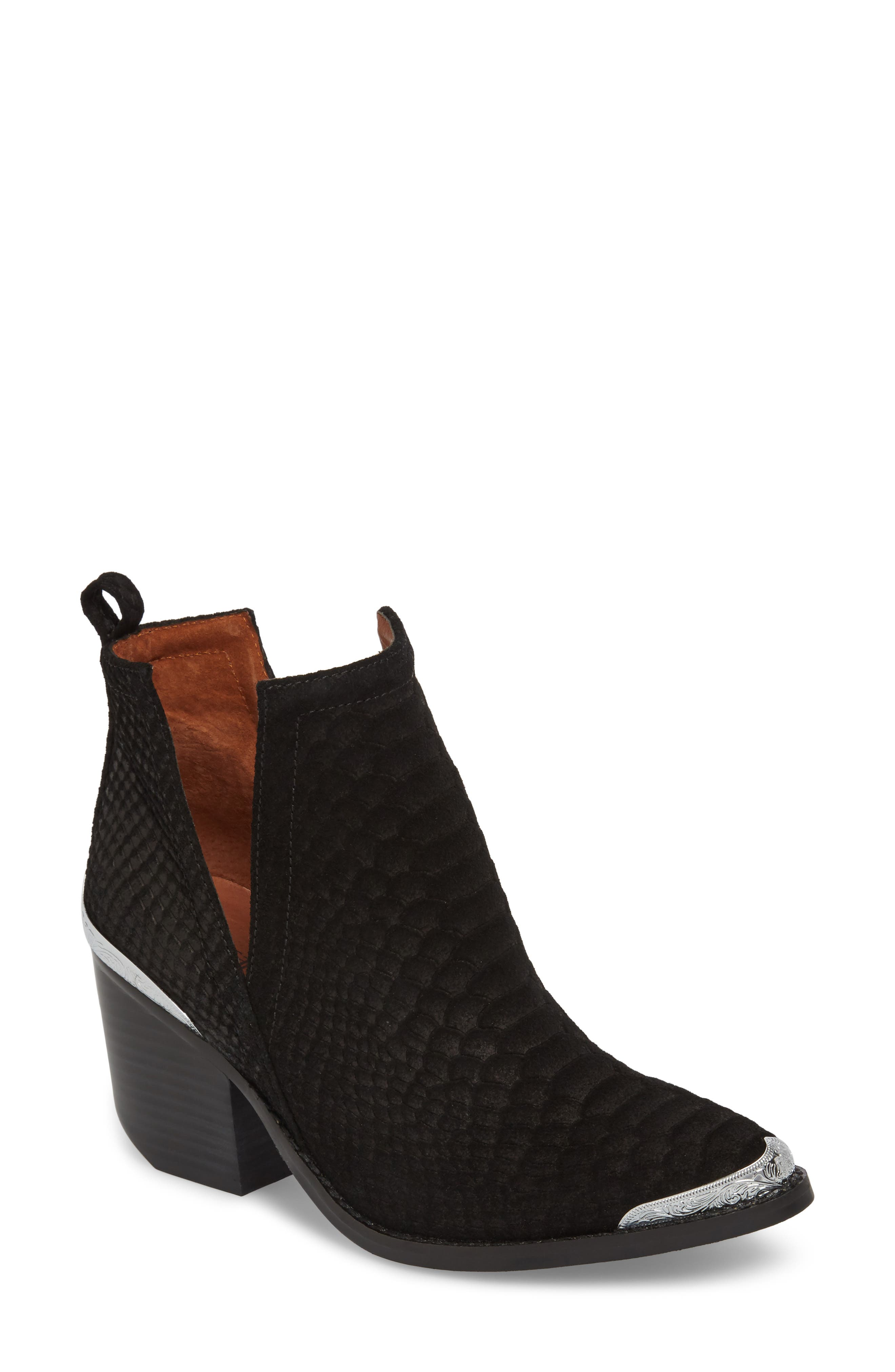 Cromwell Cutout Western Boot,                             Main thumbnail 1, color,                             Black Suede/ Snake