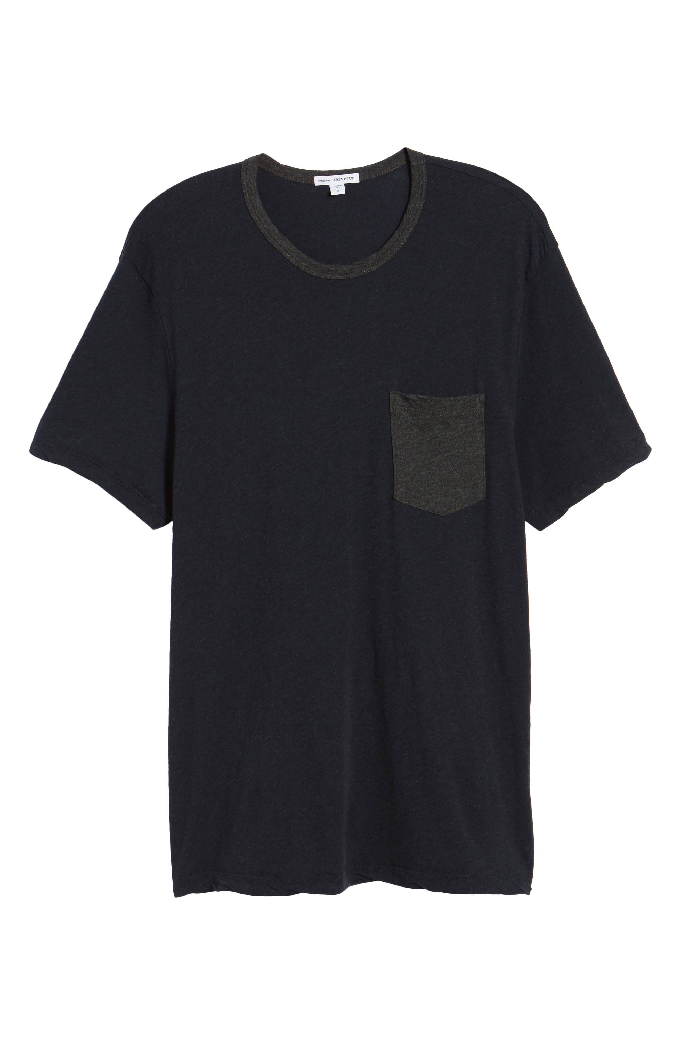 Two-Tone Pocket T-Shirt,                             Alternate thumbnail 6, color,                             Deep Anthracite