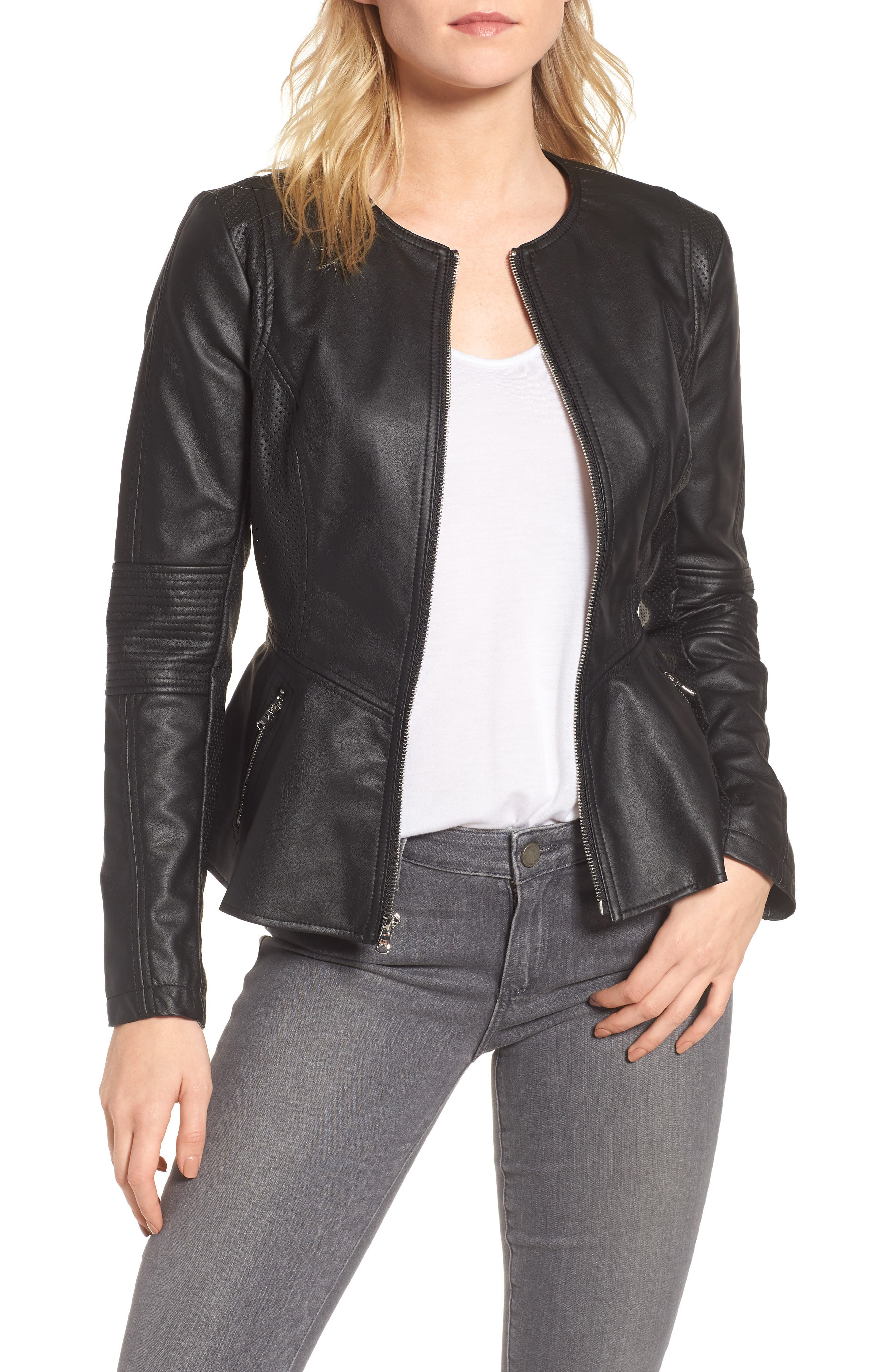 Perforated Peplum Hem Faux Leather Jacket,                             Main thumbnail 1, color,                             Black