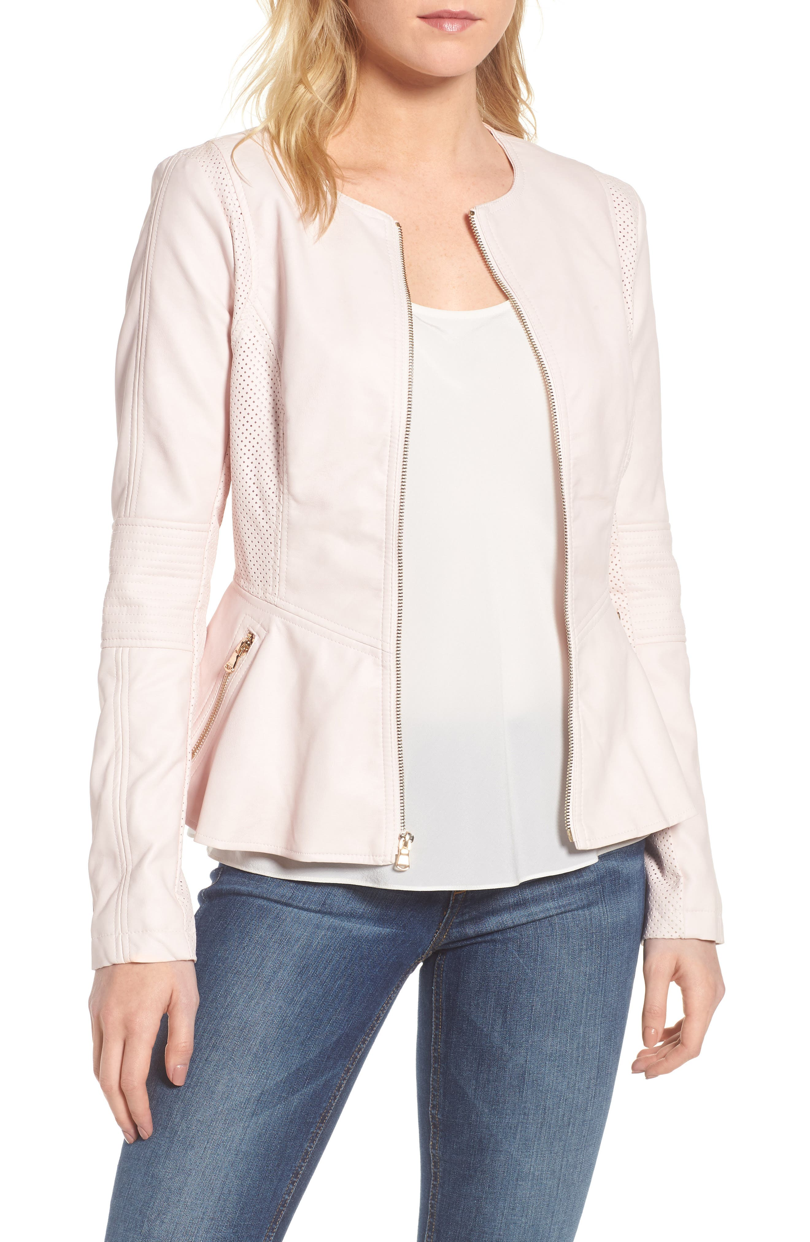 Alternate Image 1 Selected - GUESS Perforated Peplum Hem Faux Leather Jacket