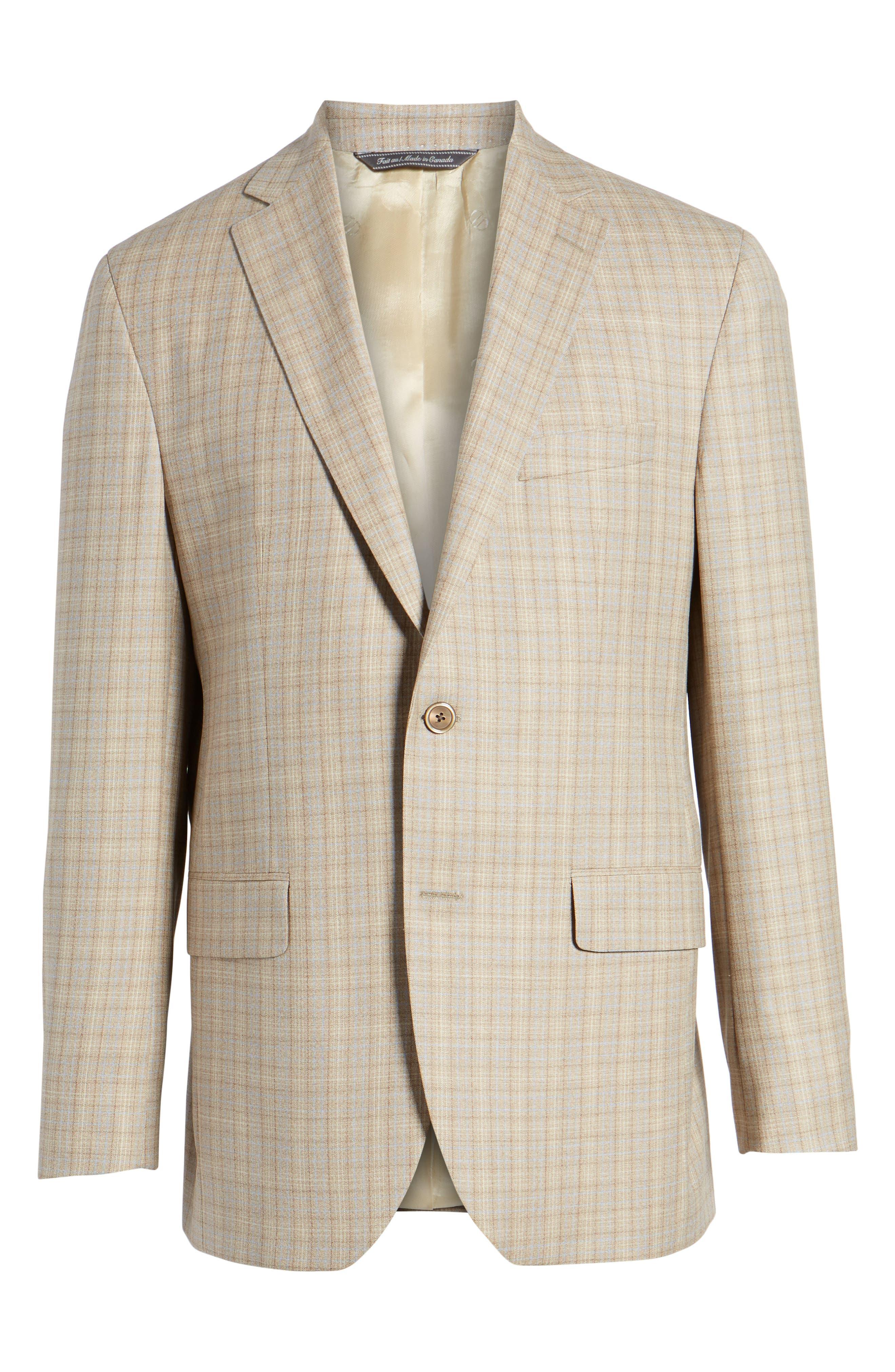 Arnold Classic Fit Plaid Wool Sport Coat,                             Alternate thumbnail 5, color,                             Tan