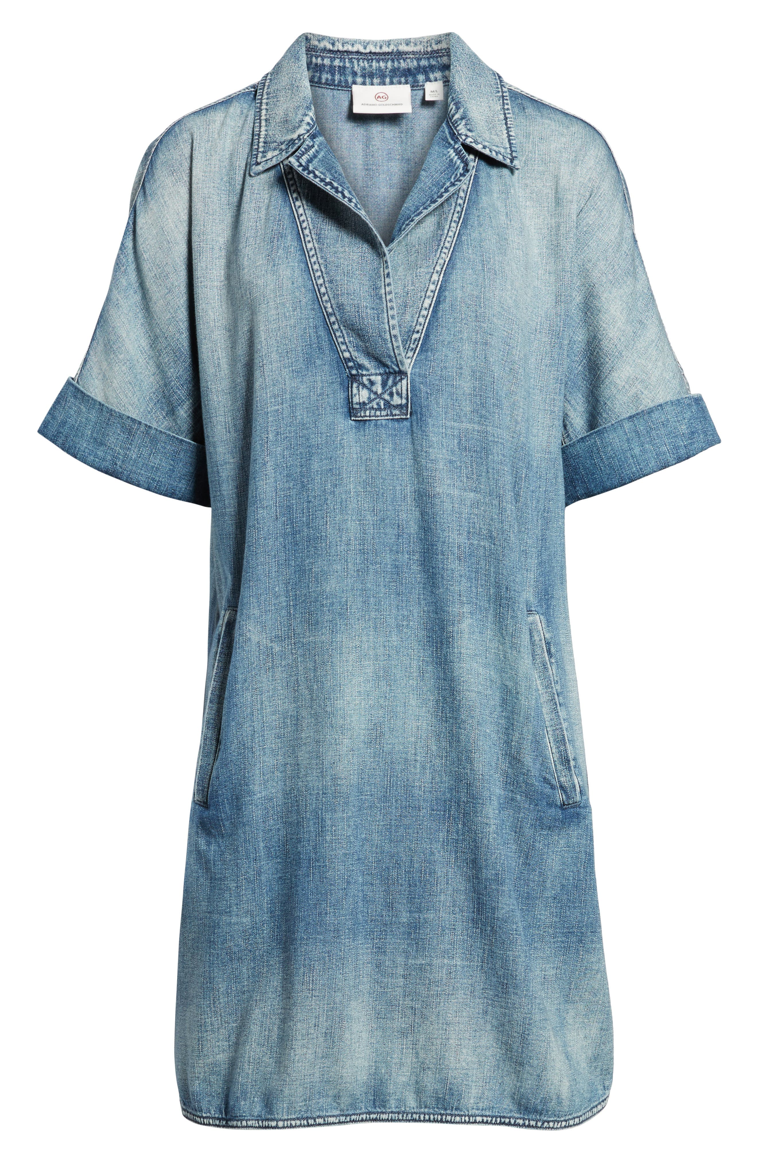 Amanda Denim Shift Dress,                             Alternate thumbnail 6, color,                             Pebble Shore