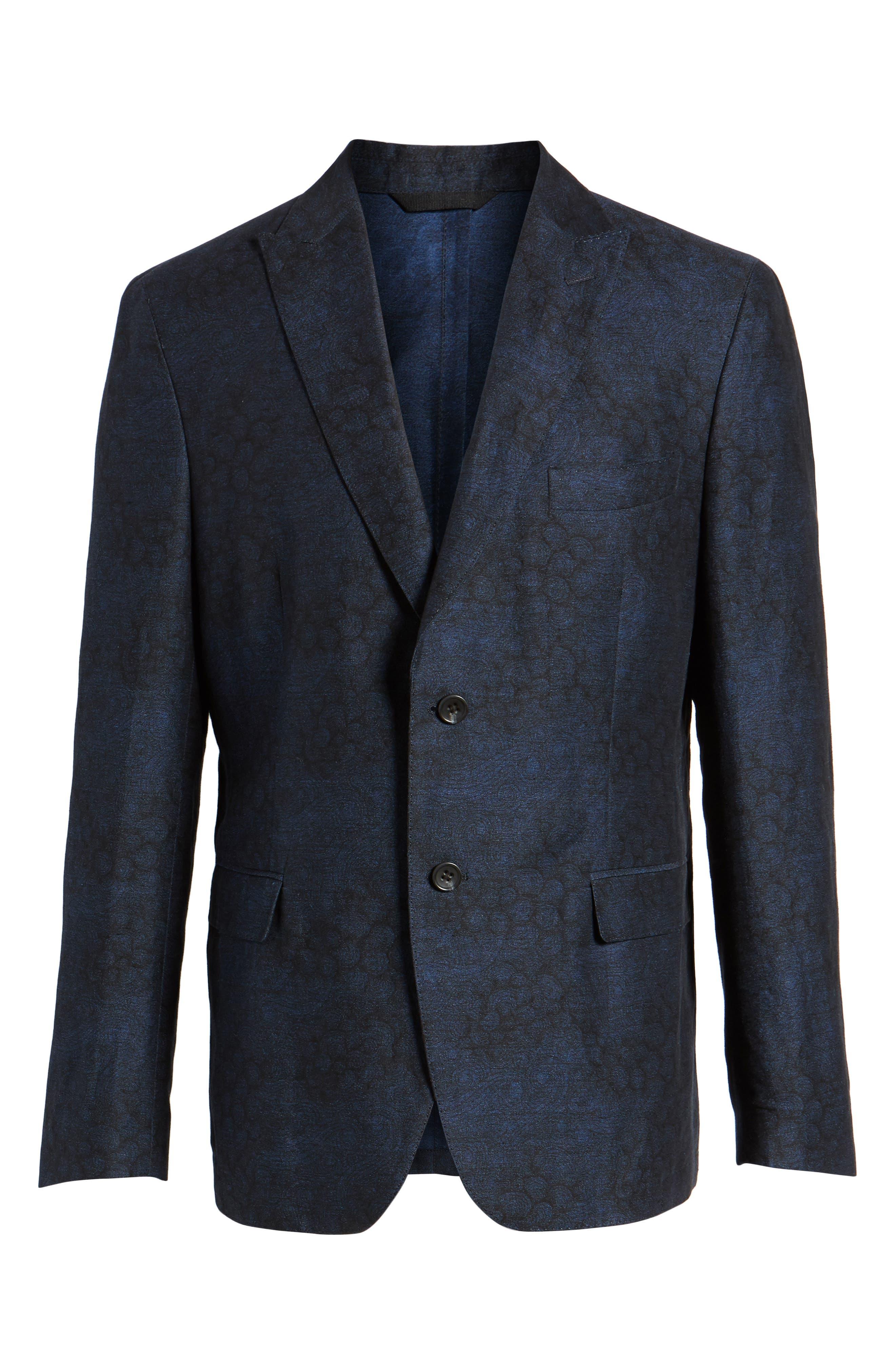 Slim Fit Patterned Linen Blend Sport Coat,                             Alternate thumbnail 6, color,                             Indigo Blue