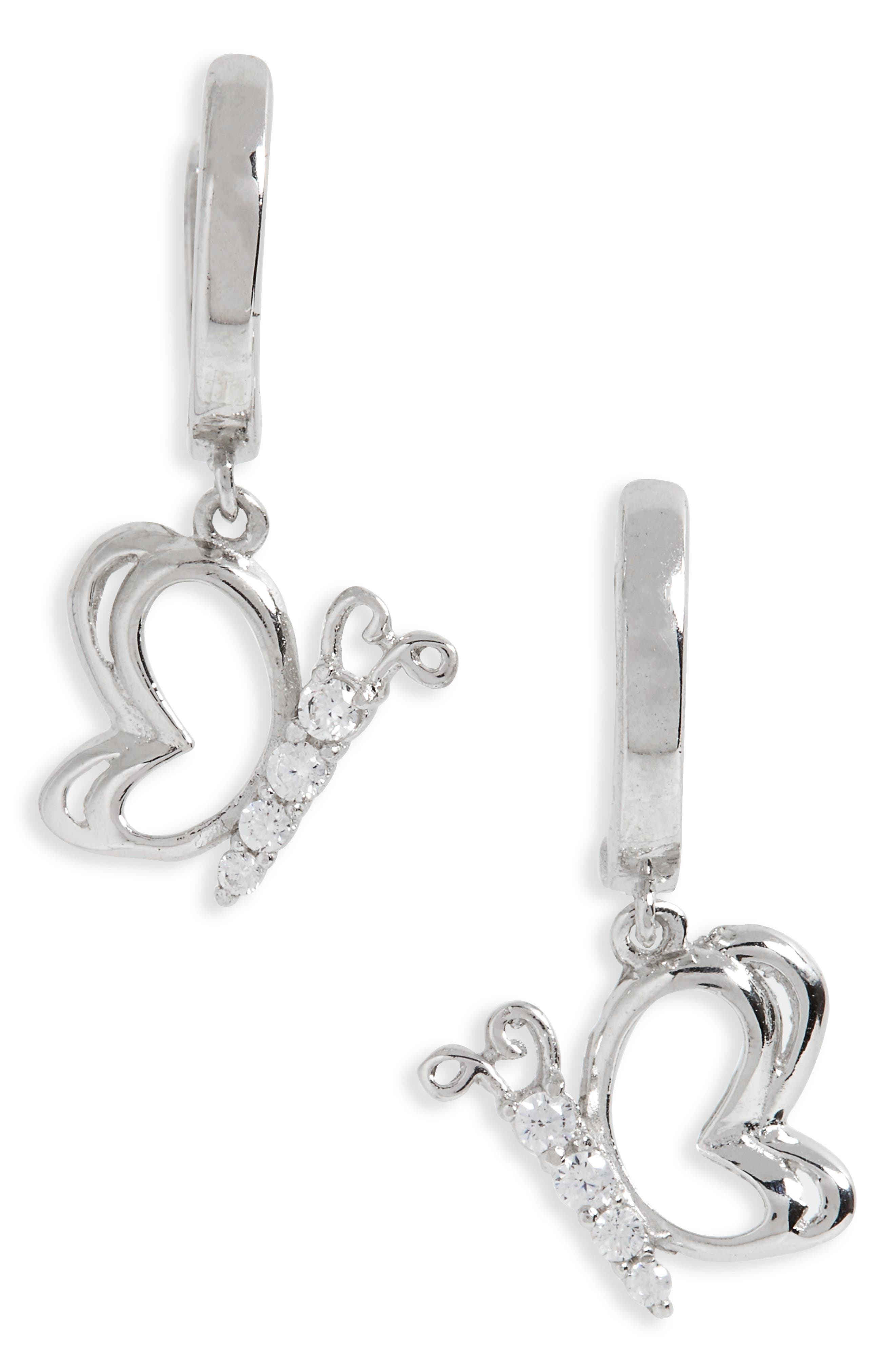 Kardee Kids Sterling Silver & Cubic Zirconia Butterfly Earrings,                             Main thumbnail 1, color,                             Silver