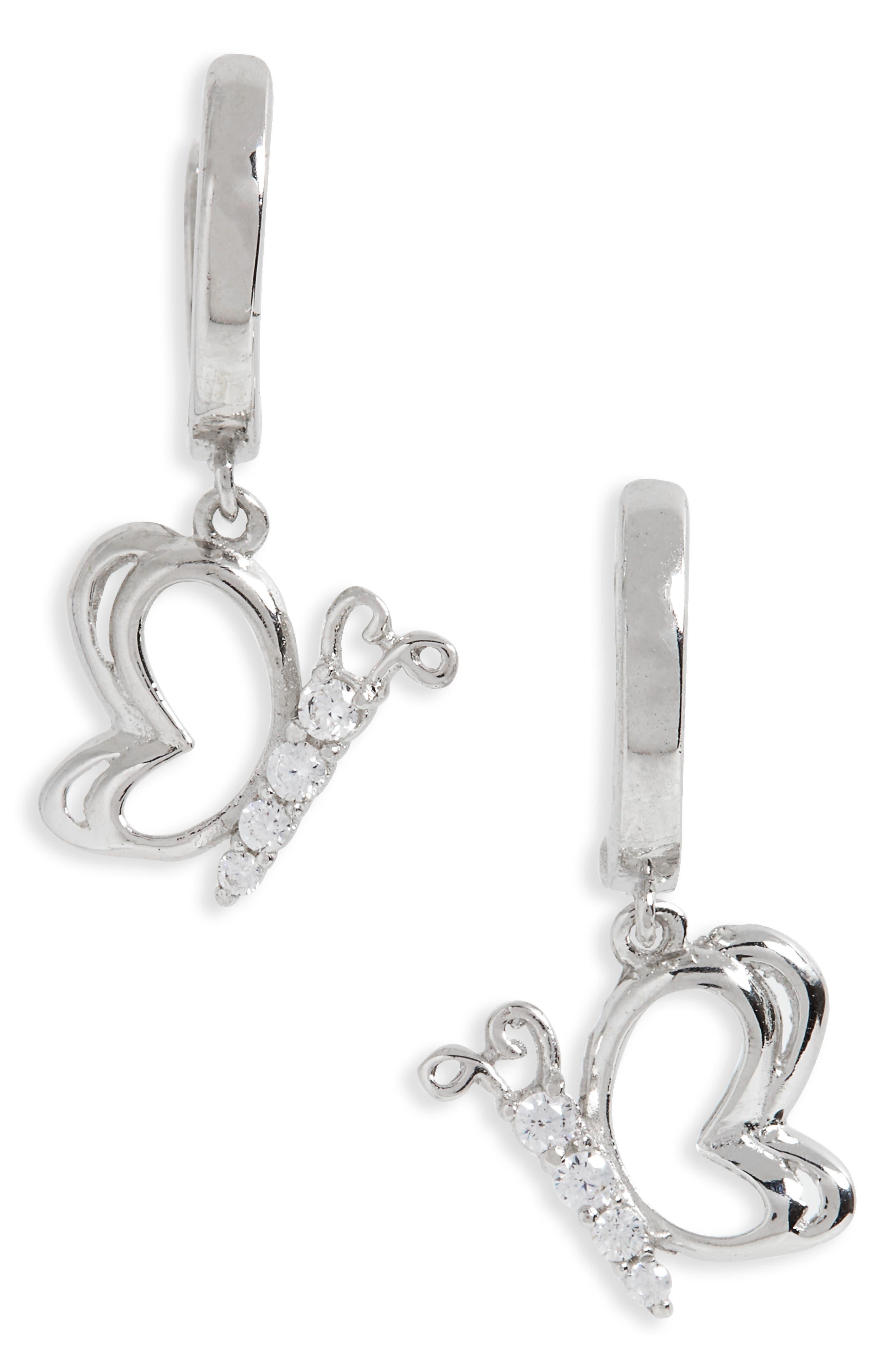 Kardee Kids Sterling Silver & Cubic Zirconia Butterfly Earrings,                         Main,                         color, Silver