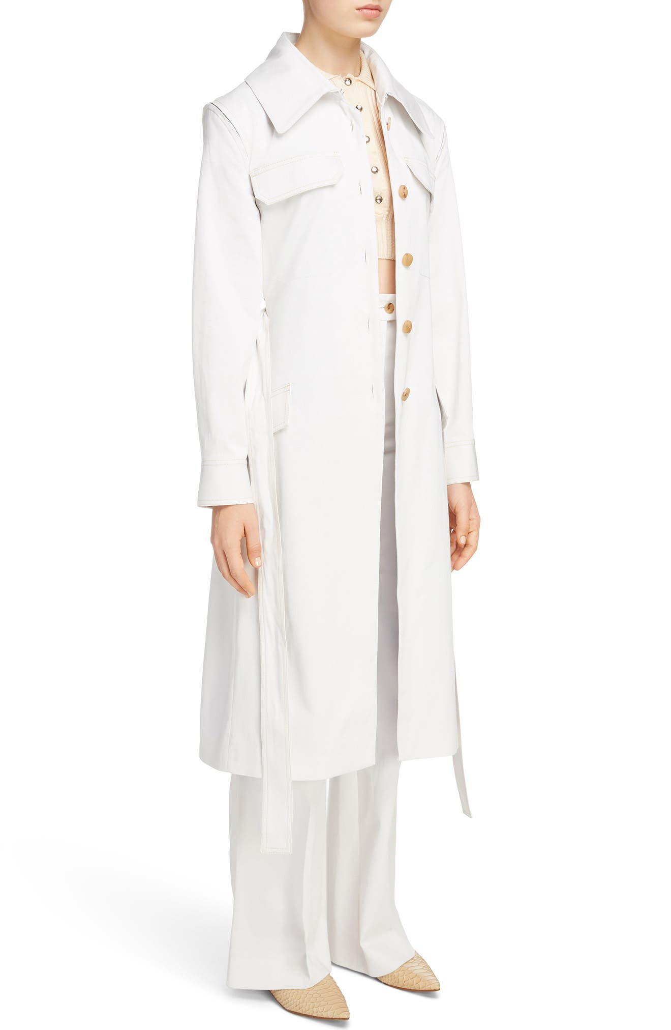 Olesia Removable Sleeve Belted Coat,                             Alternate thumbnail 4, color,                             Dirty White