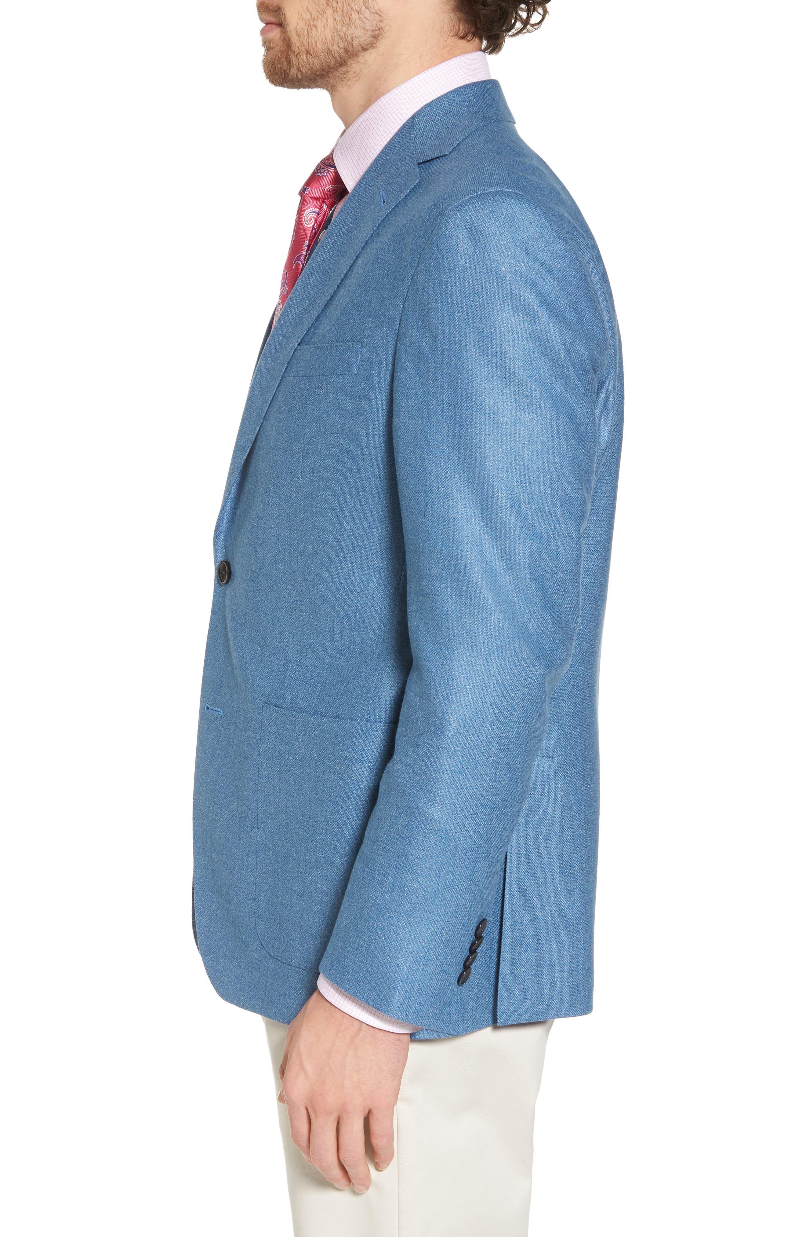 Aiden Classic Fit Silk & Wool Blazer,                             Alternate thumbnail 3, color,                             Blue