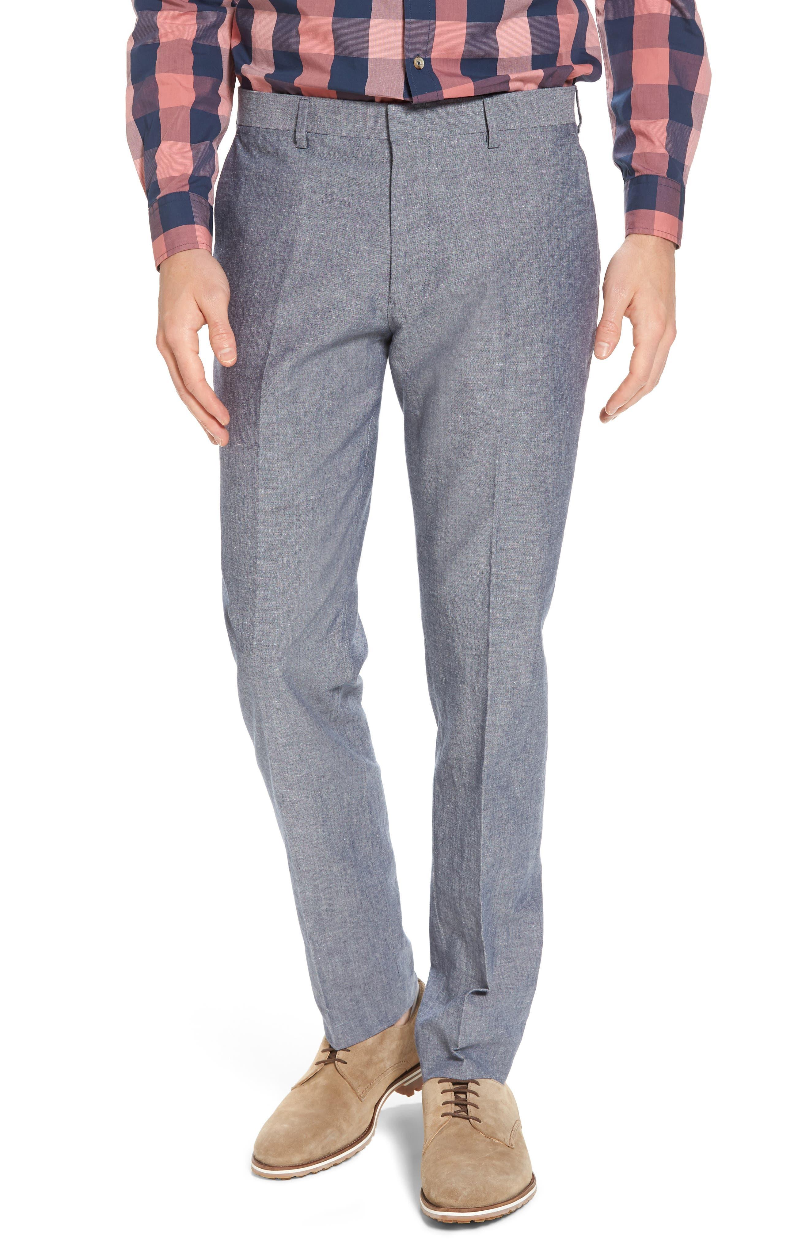 Ludlow Trim Fit Cotton & Linen Suit Pants,                             Main thumbnail 1, color,                             Deep Water Blue