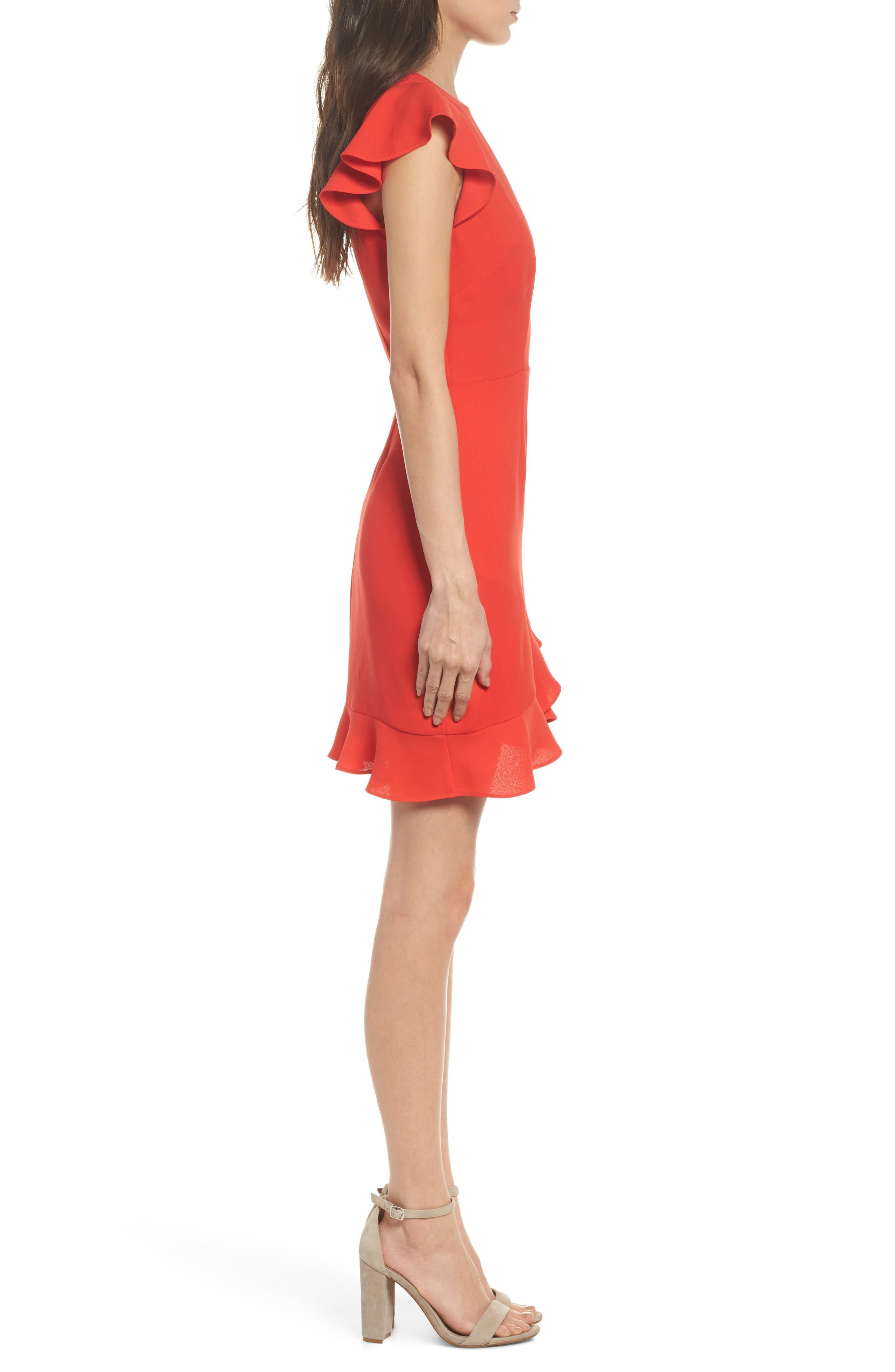 Ruffle Edge Sheath Dress,                             Alternate thumbnail 3, color,                             Coral