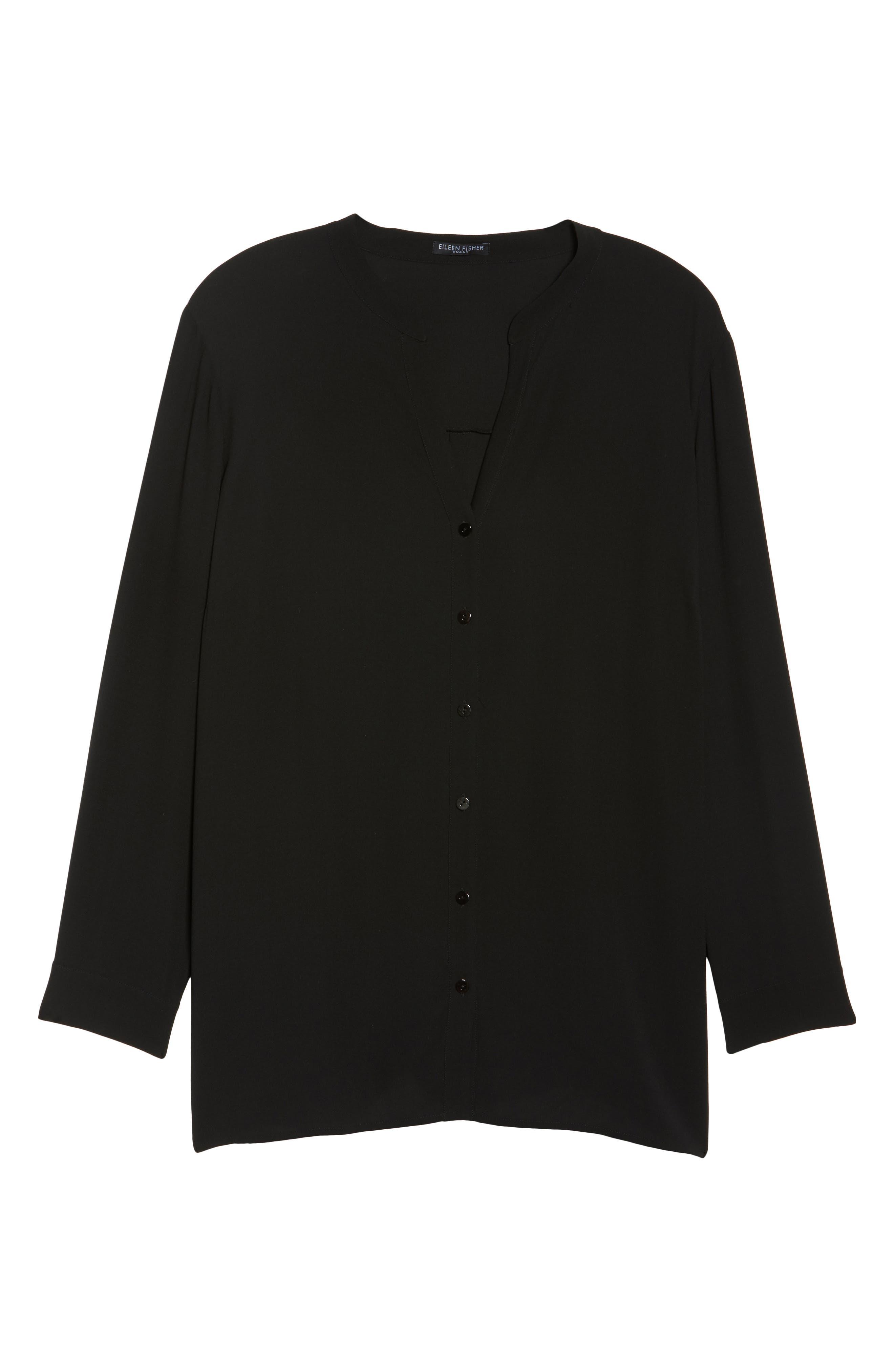 Silk Blouse,                             Alternate thumbnail 6, color,                             Black