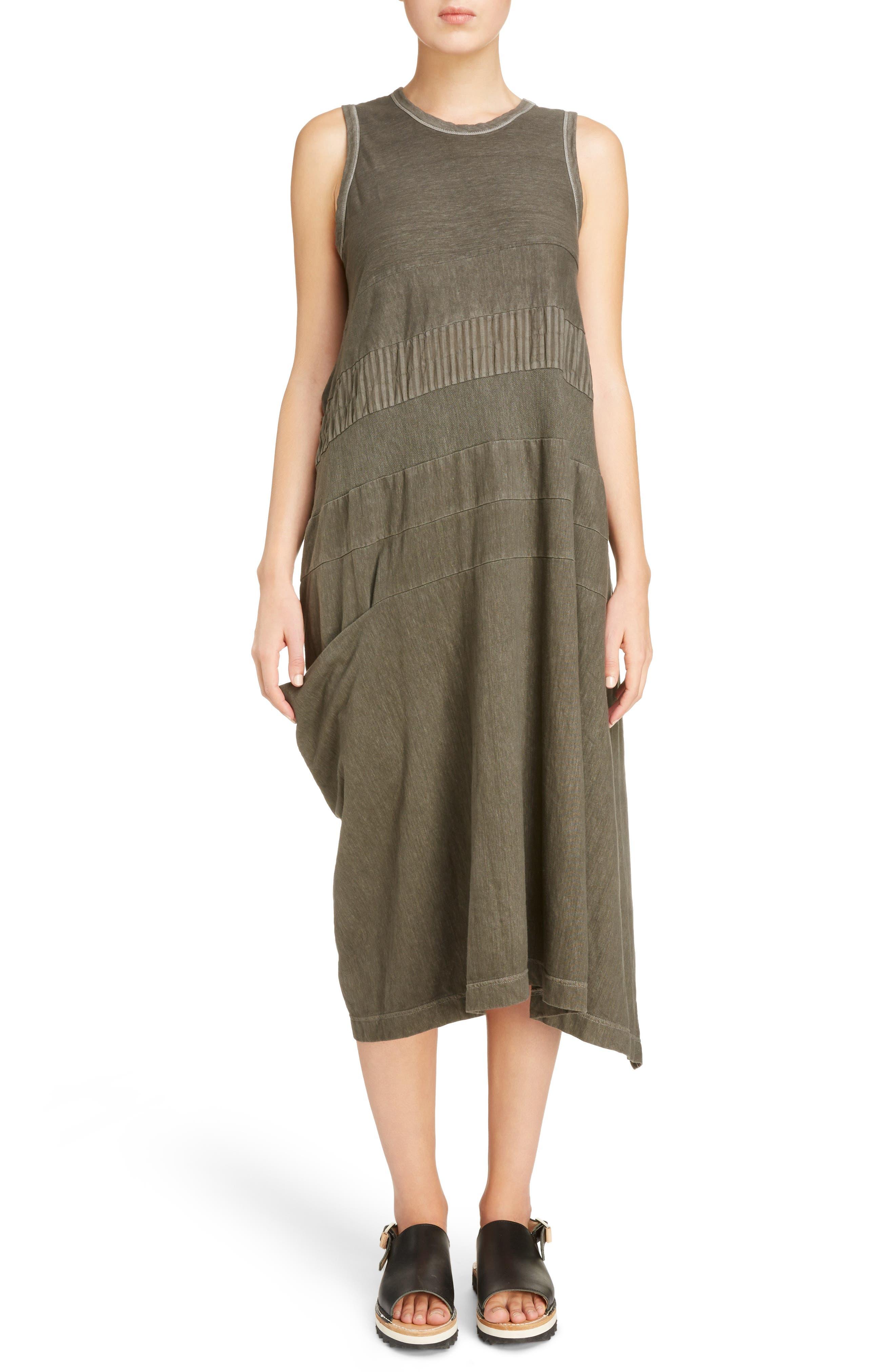 Y's by Yohji Yamamoto Washed Cotton Sleeveless Shift Dress