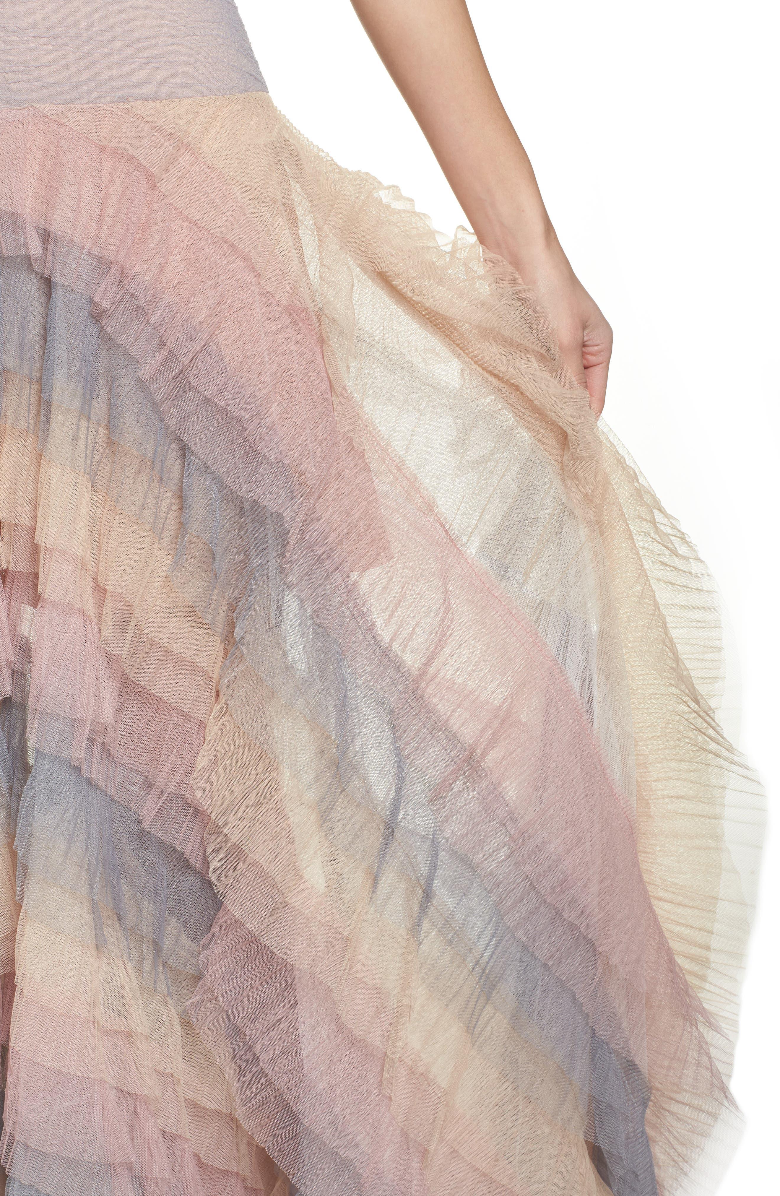Amelia Tier Ruffle Gown,                             Alternate thumbnail 4, color,                             Multicolor
