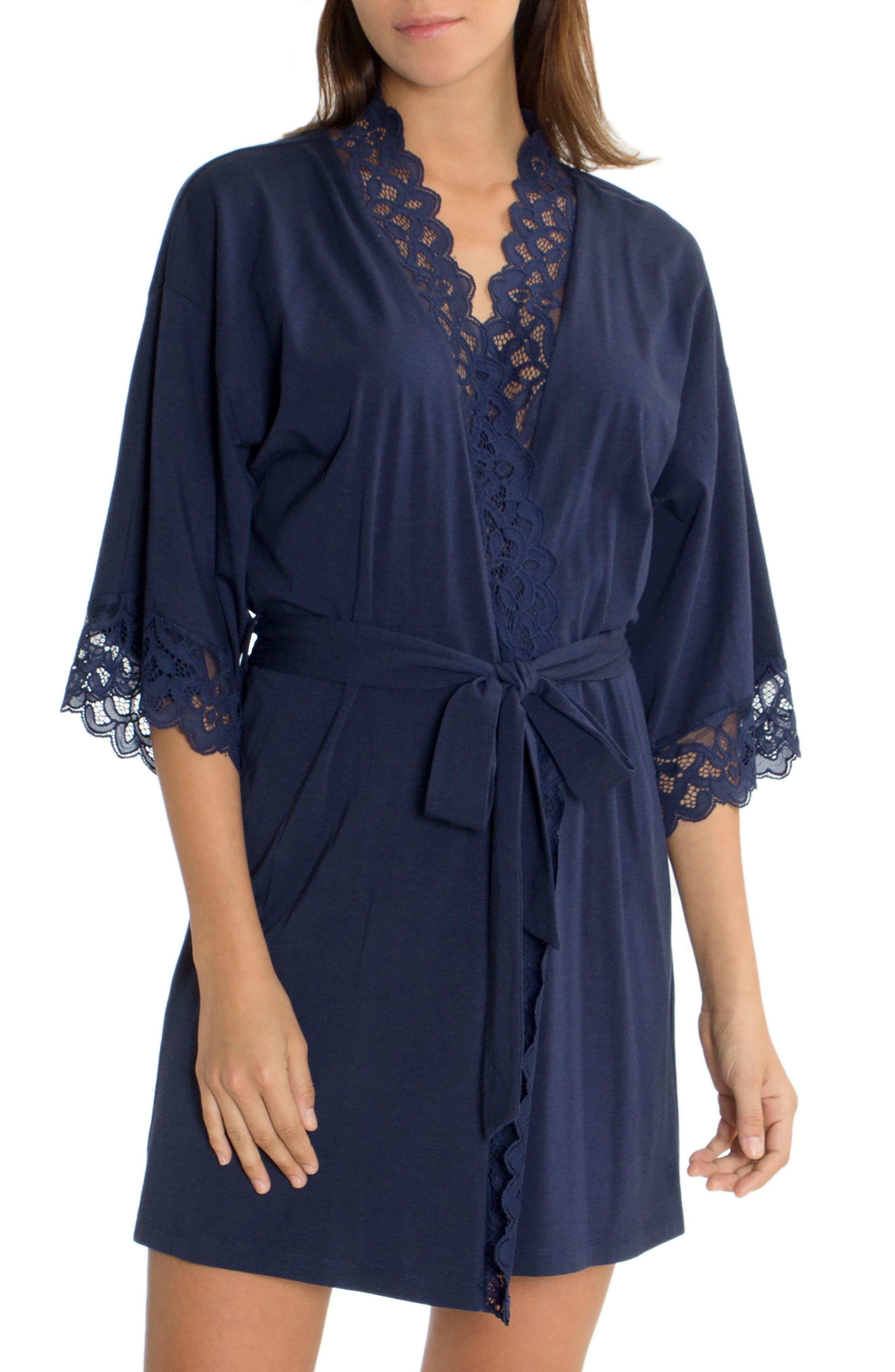 Lace Trim Wrap,                         Main,                         color, Navy