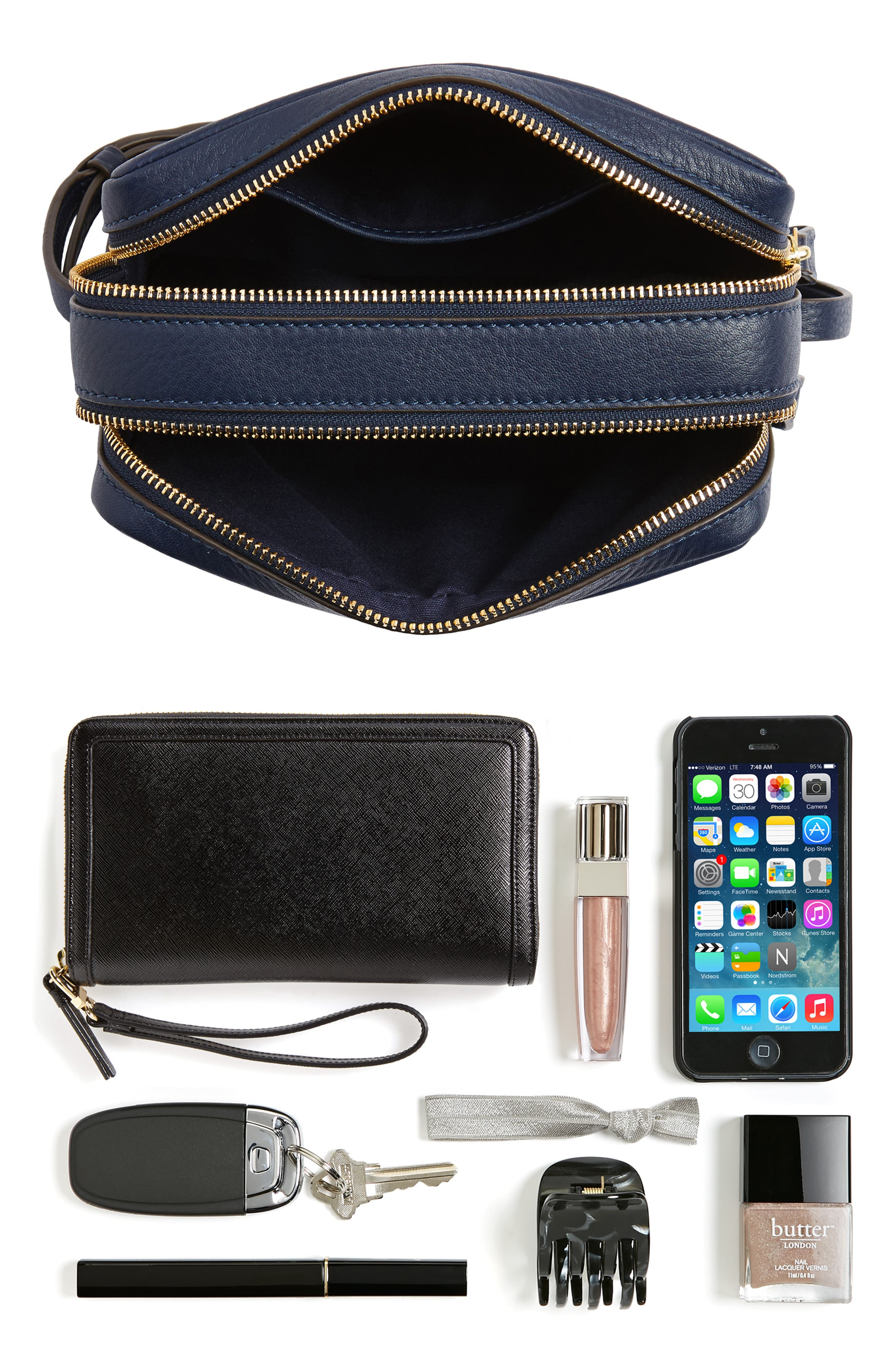 Block-T Double Zip Leather Crossbody Bag,                             Alternate thumbnail 7, color,