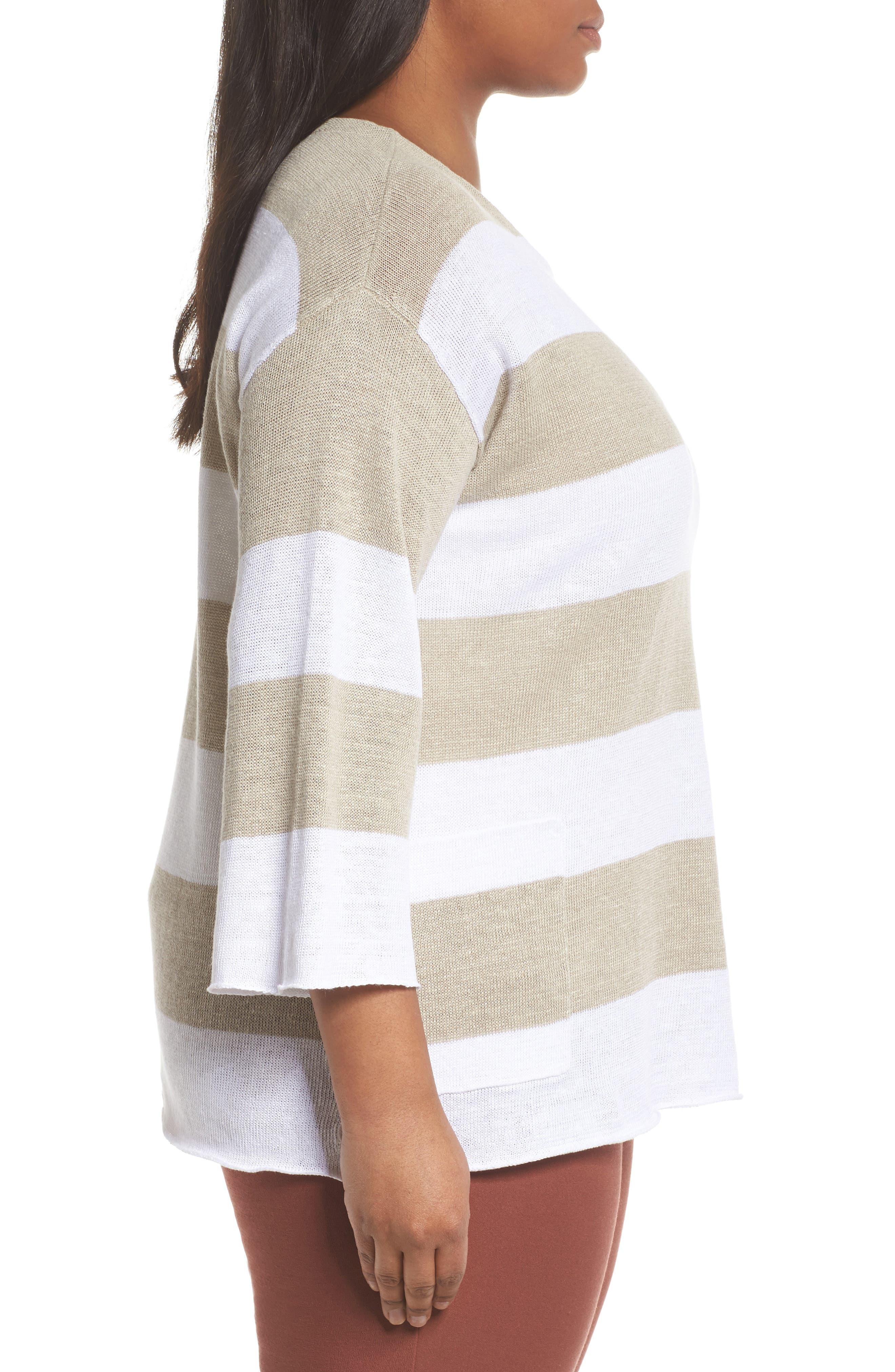 Stripe Linen Sweater,                             Alternate thumbnail 3, color,                             White/ Natural
