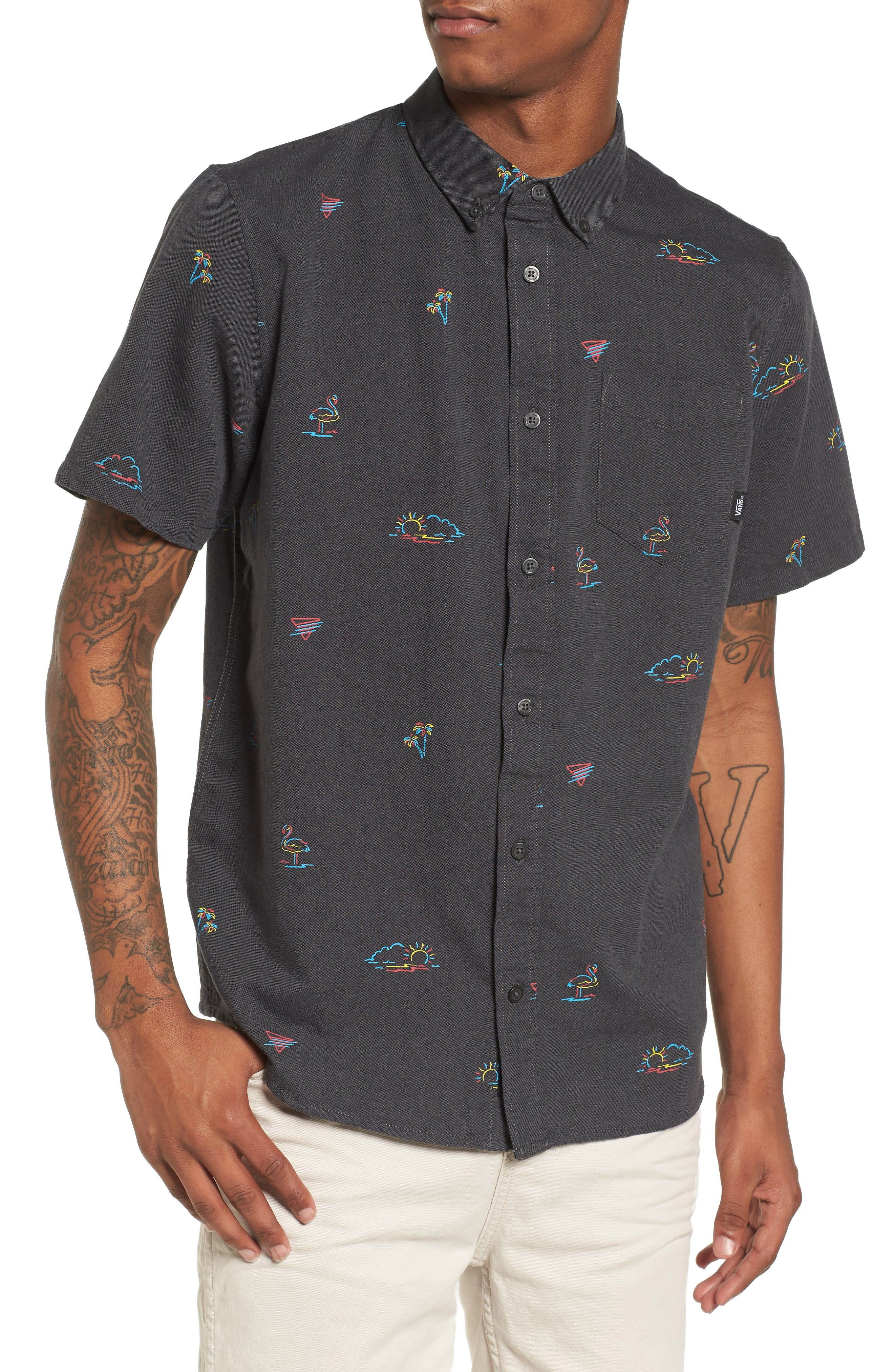 Houser Woven Shirt,                             Main thumbnail 1, color,                             Black Road Trippin