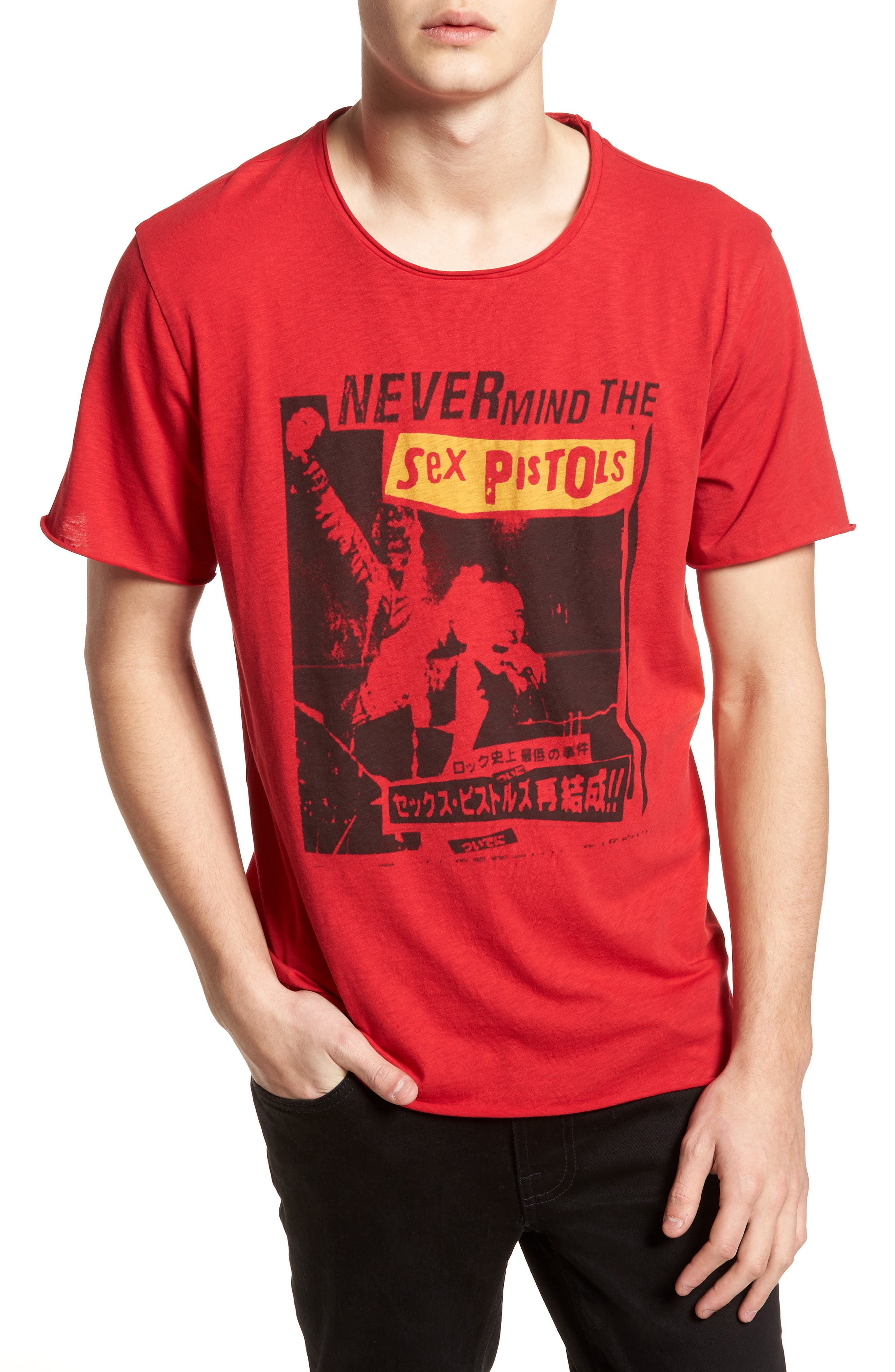 Sex Pistols Crewneck T-Shirt,                             Main thumbnail 1, color,                             Red Sex Pistols