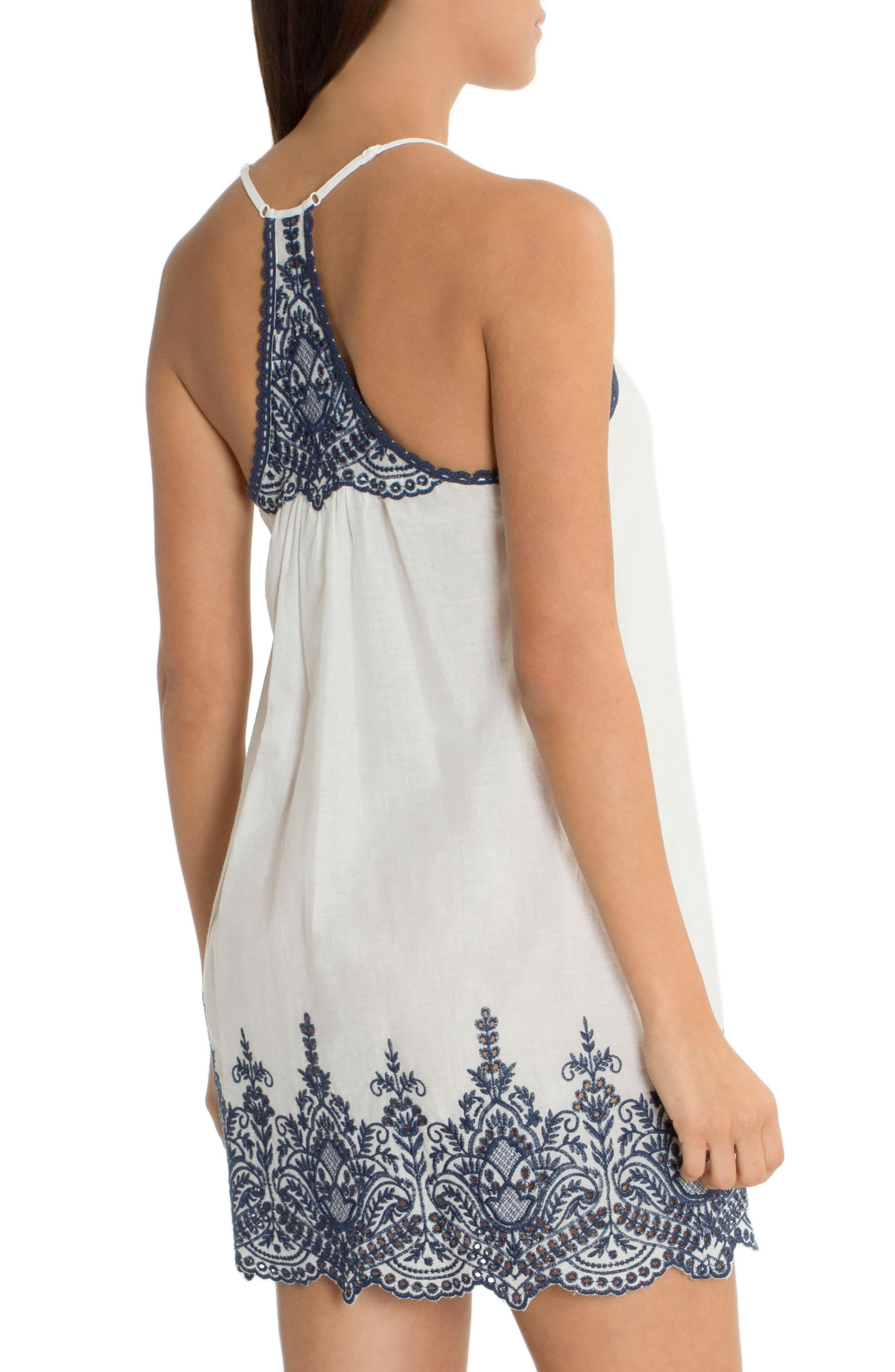 Embroidered Chemise,                             Alternate thumbnail 2, color,                             Ivory/ Navy