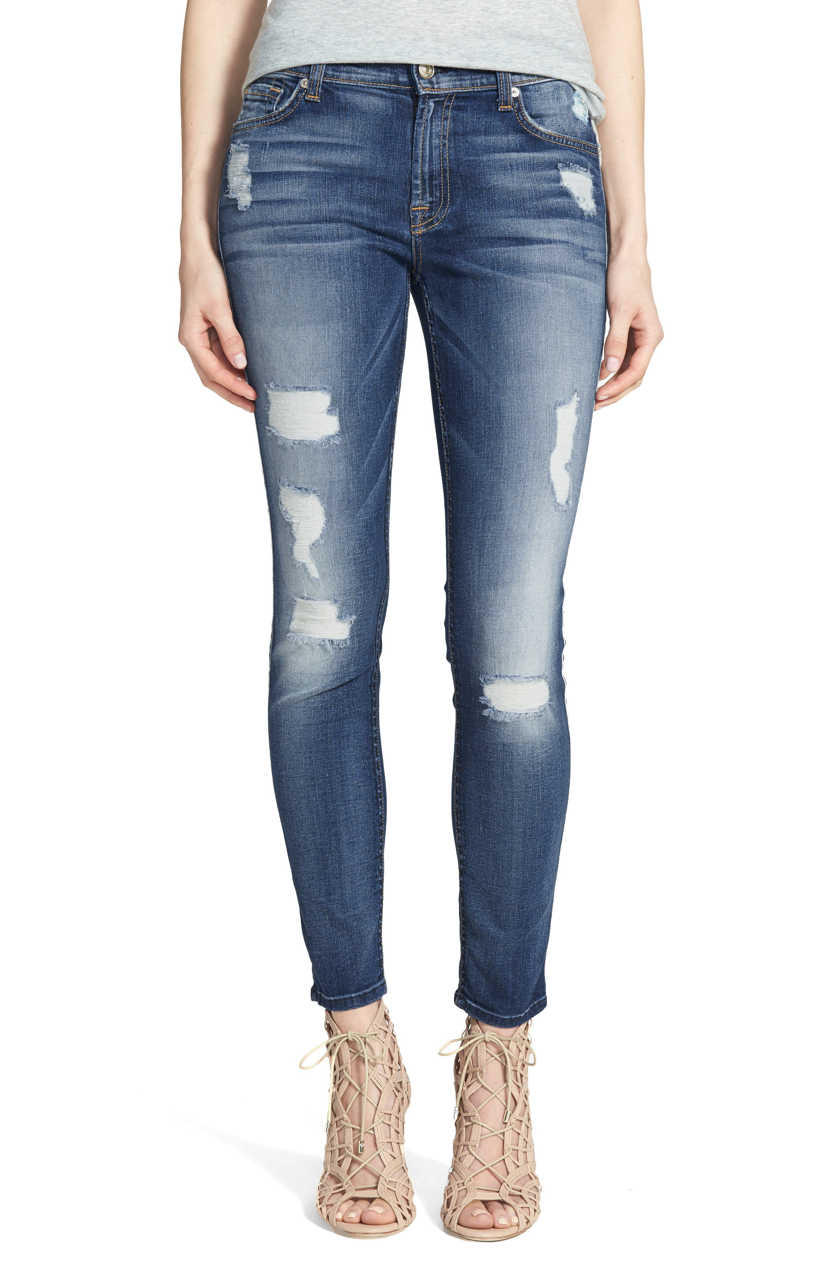 Main Image - 7 For All Mankind® Ankle Skinny Jeans (Distressed Authentic Light)
