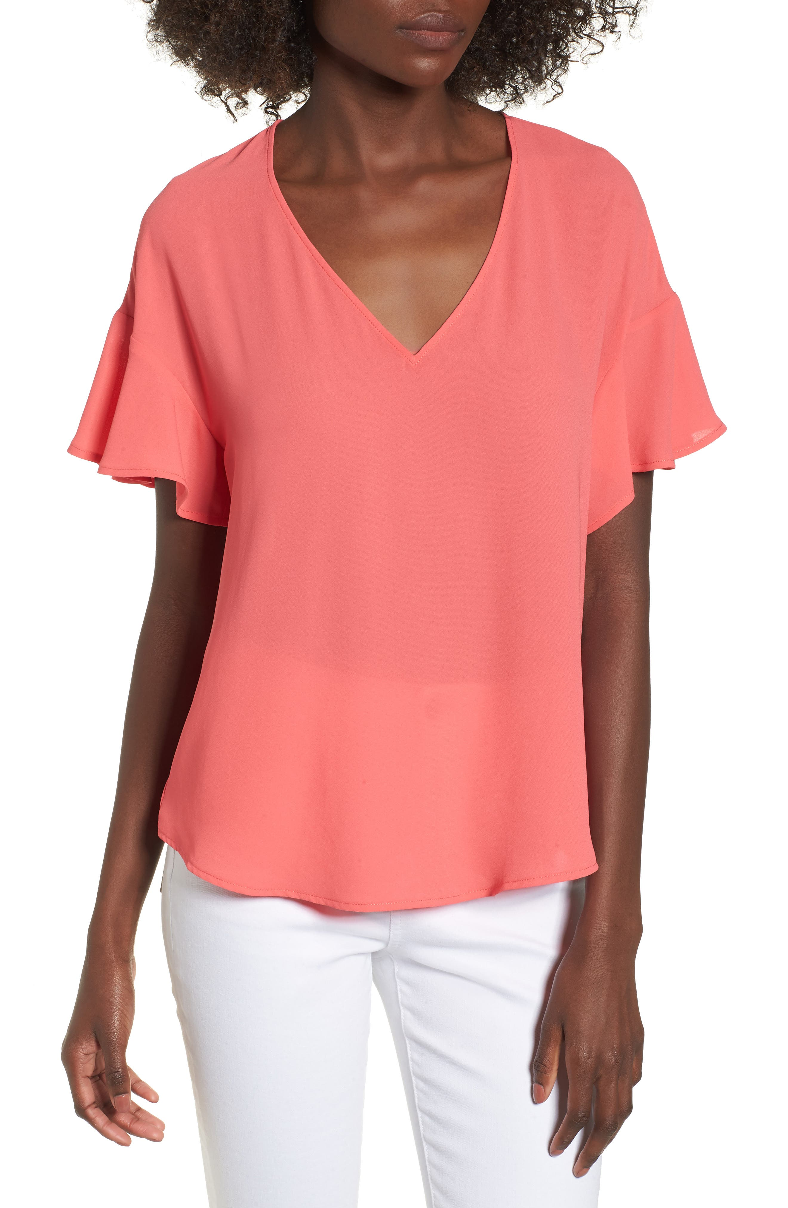 Crepe Tee,                         Main,                         color, Coral