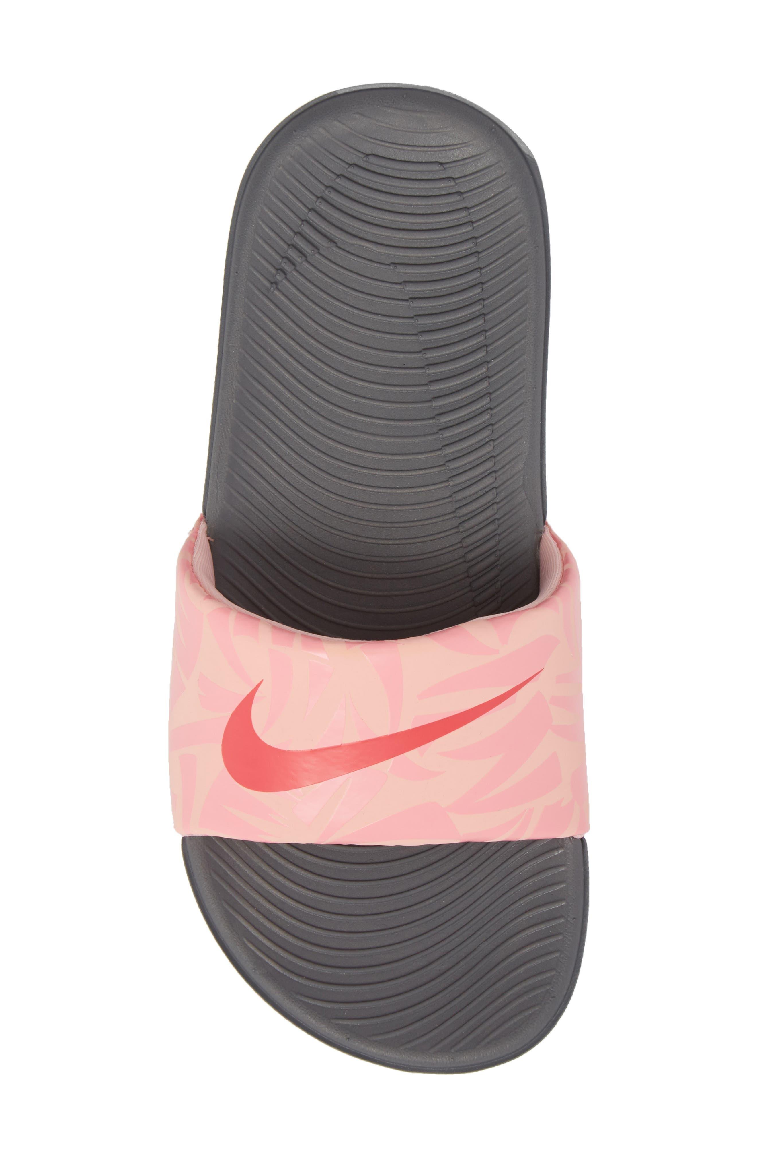 'Kawa' Print Slide Sandal,                             Alternate thumbnail 5, color,                             Grey/ Tropical Pink/ Coral