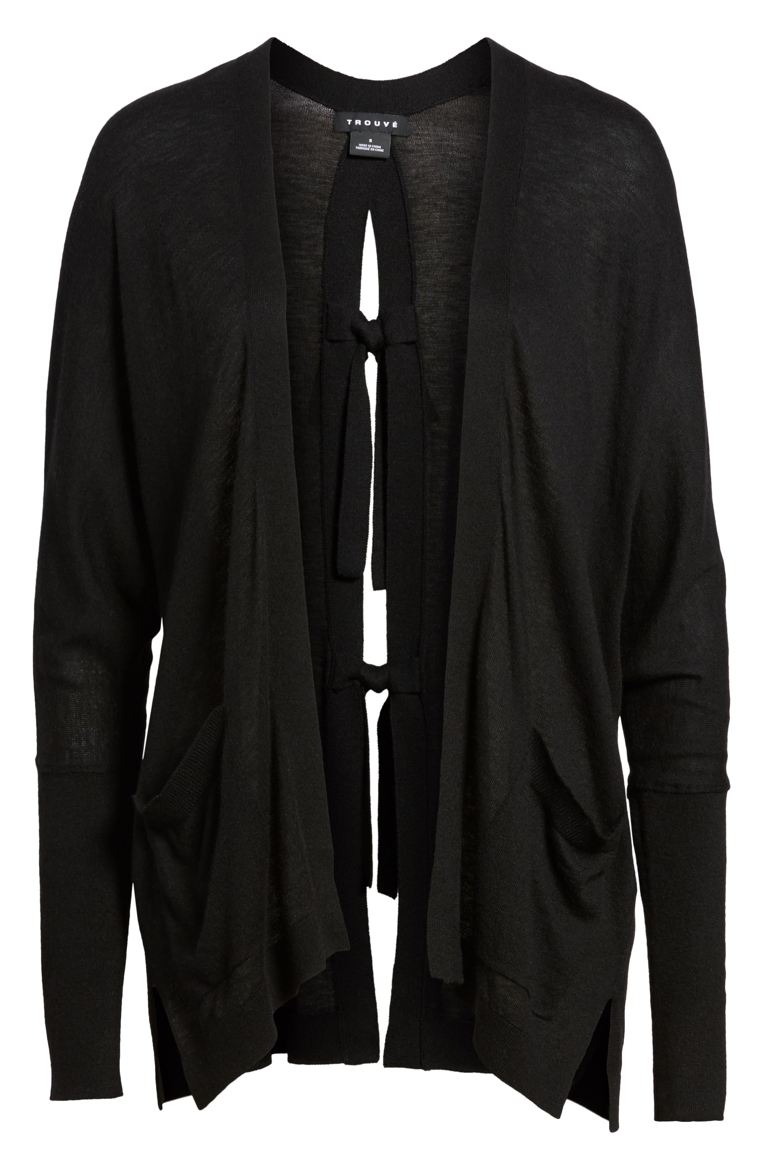 Tie Back Cardigan,                             Alternate thumbnail 6, color,                             Black