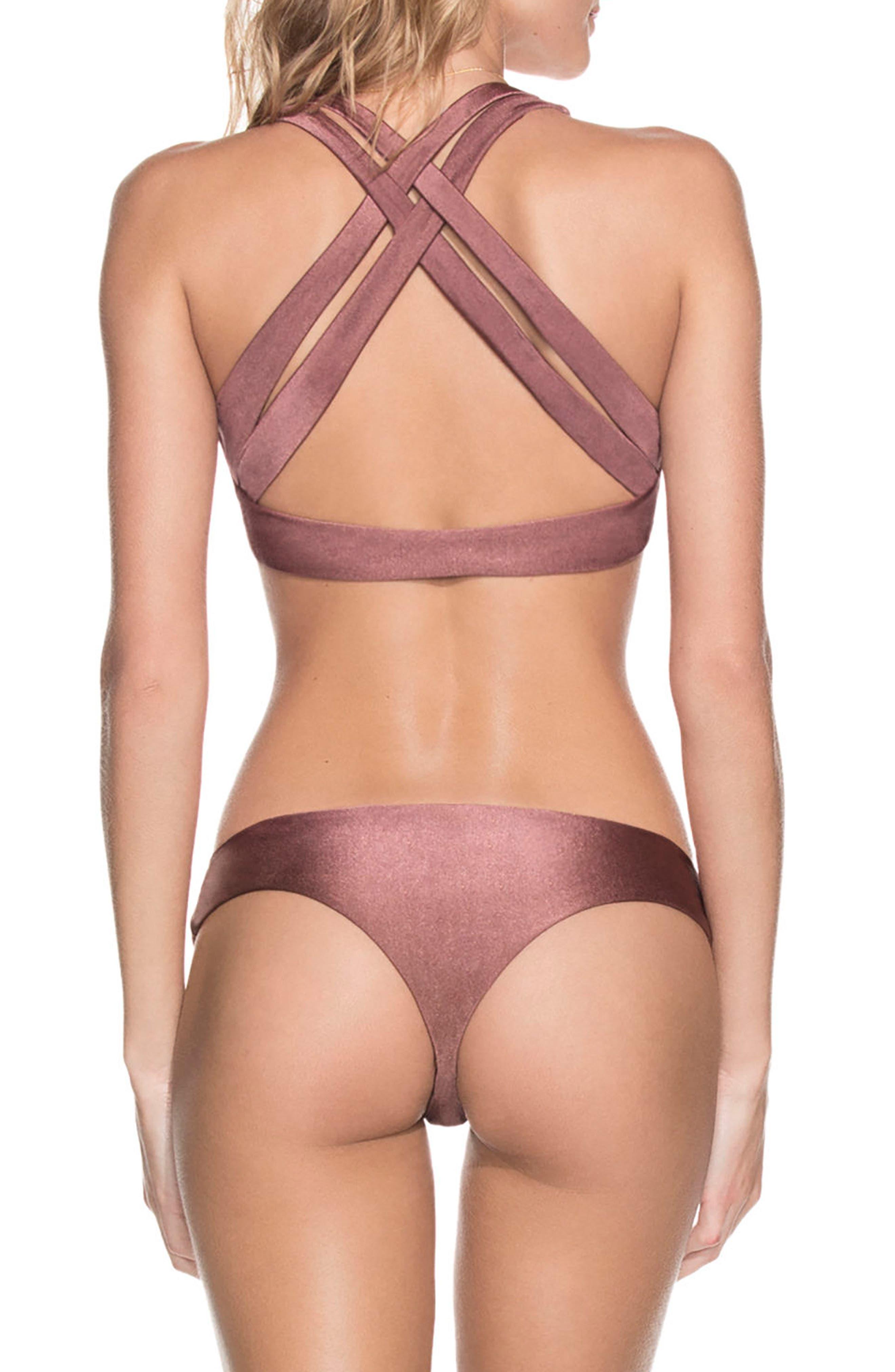 Shimmering Cognac Reversible Bikini Top,                             Alternate thumbnail 7, color,                             Cognac